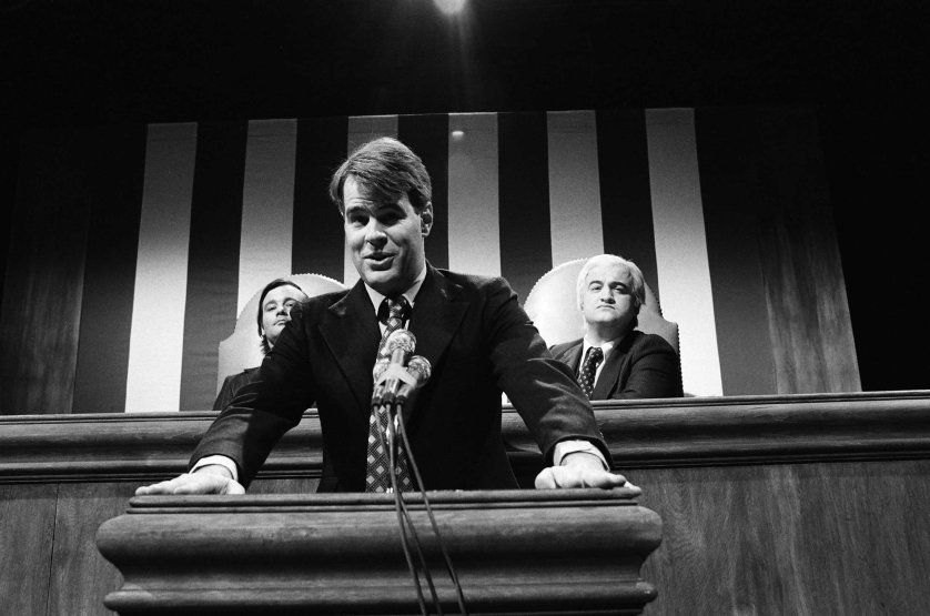Bill Murray as Walter Mondale, Dan Aykroyd as President Jimmy Carter, and John Belushi as Tip O'Neil during the 'State of the Union 1979' skit on Jan. 27, 1979.
