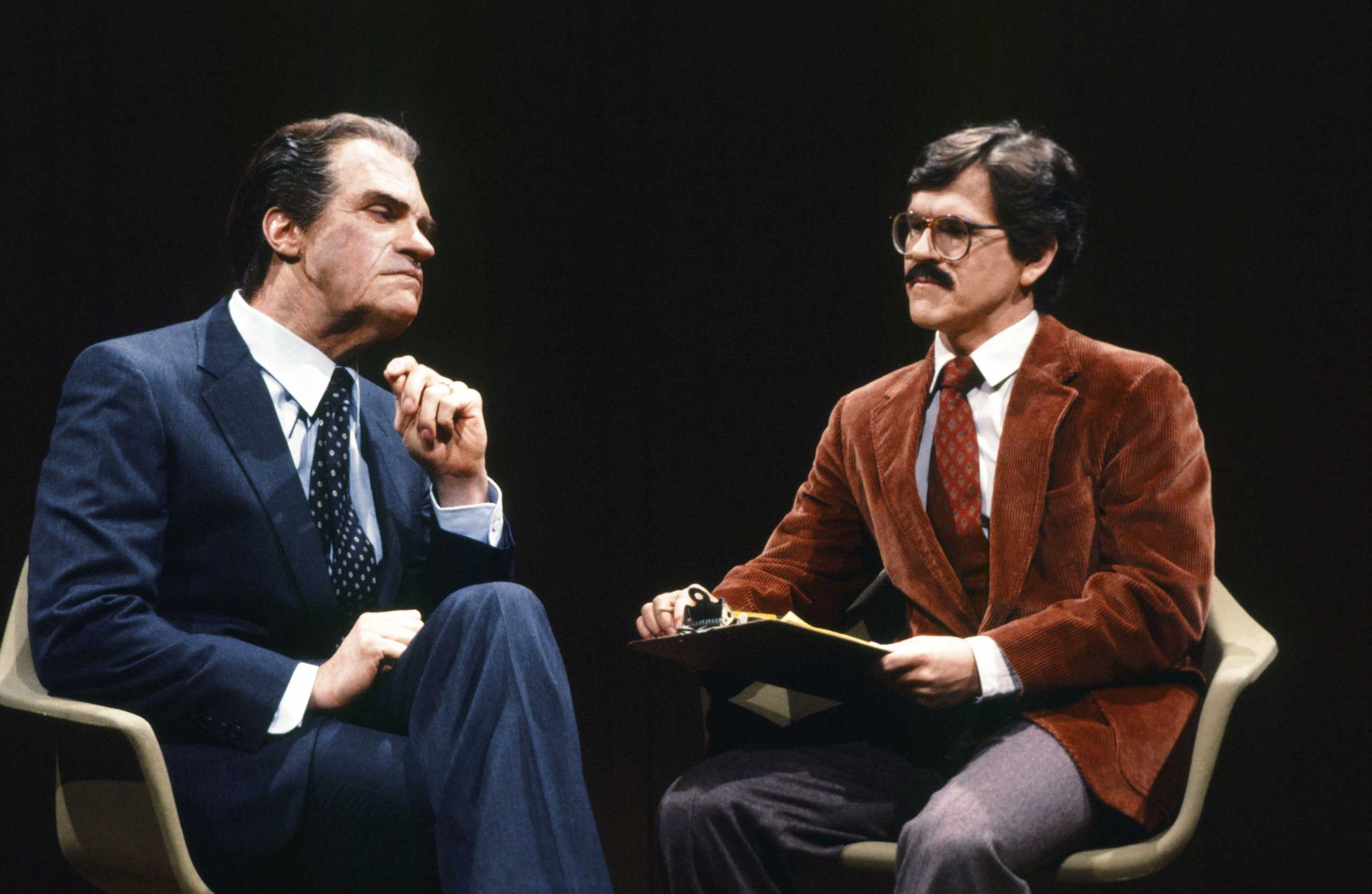 Joe Piscopo as President Richard Nixon and Tim Kazurinsky during the '60 Minutes' skit on April 14, 1984.