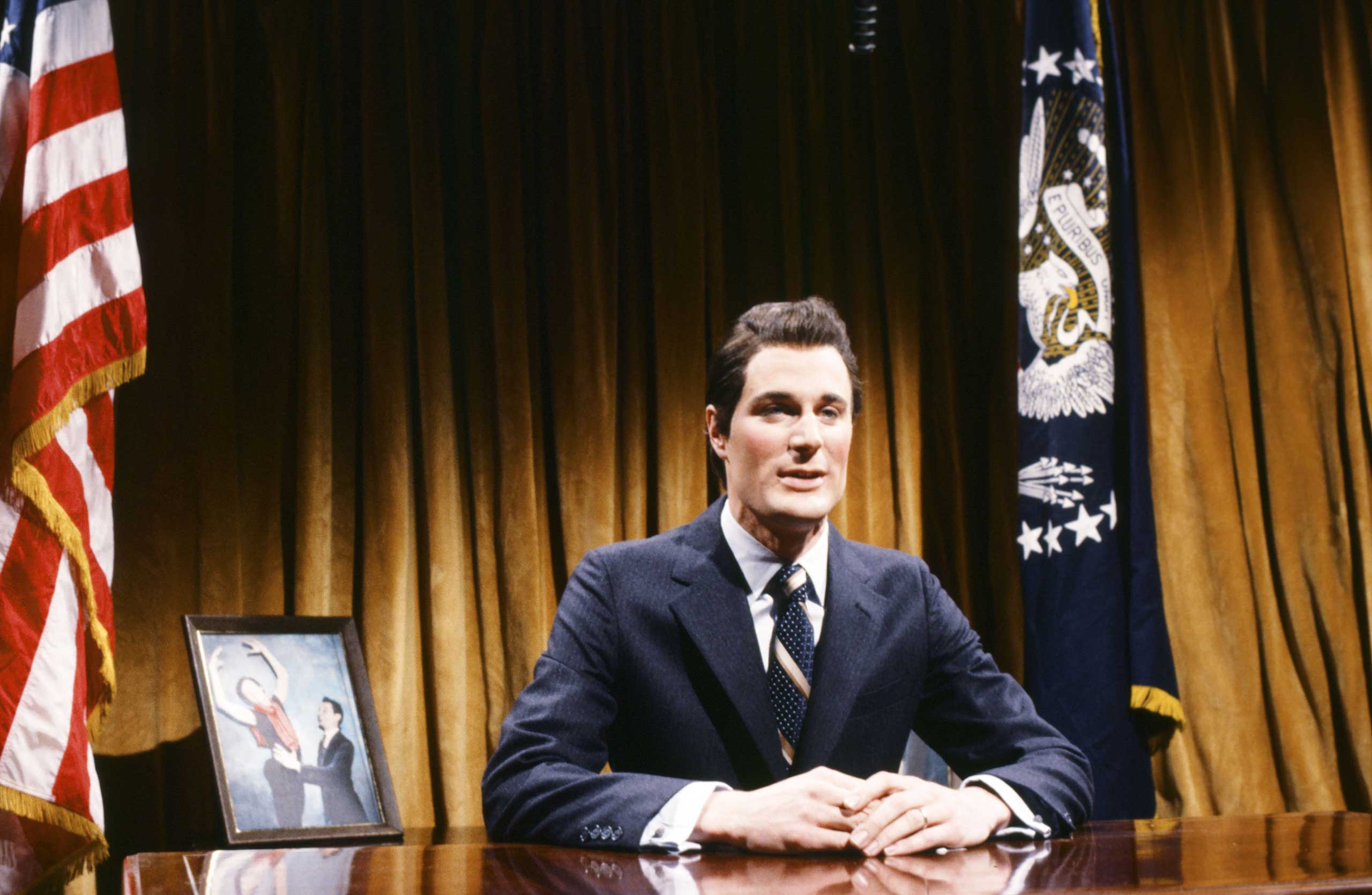 Charles Rocket as Ronald Reagan during the 'Charts' skit on Feb. 7, 1981.