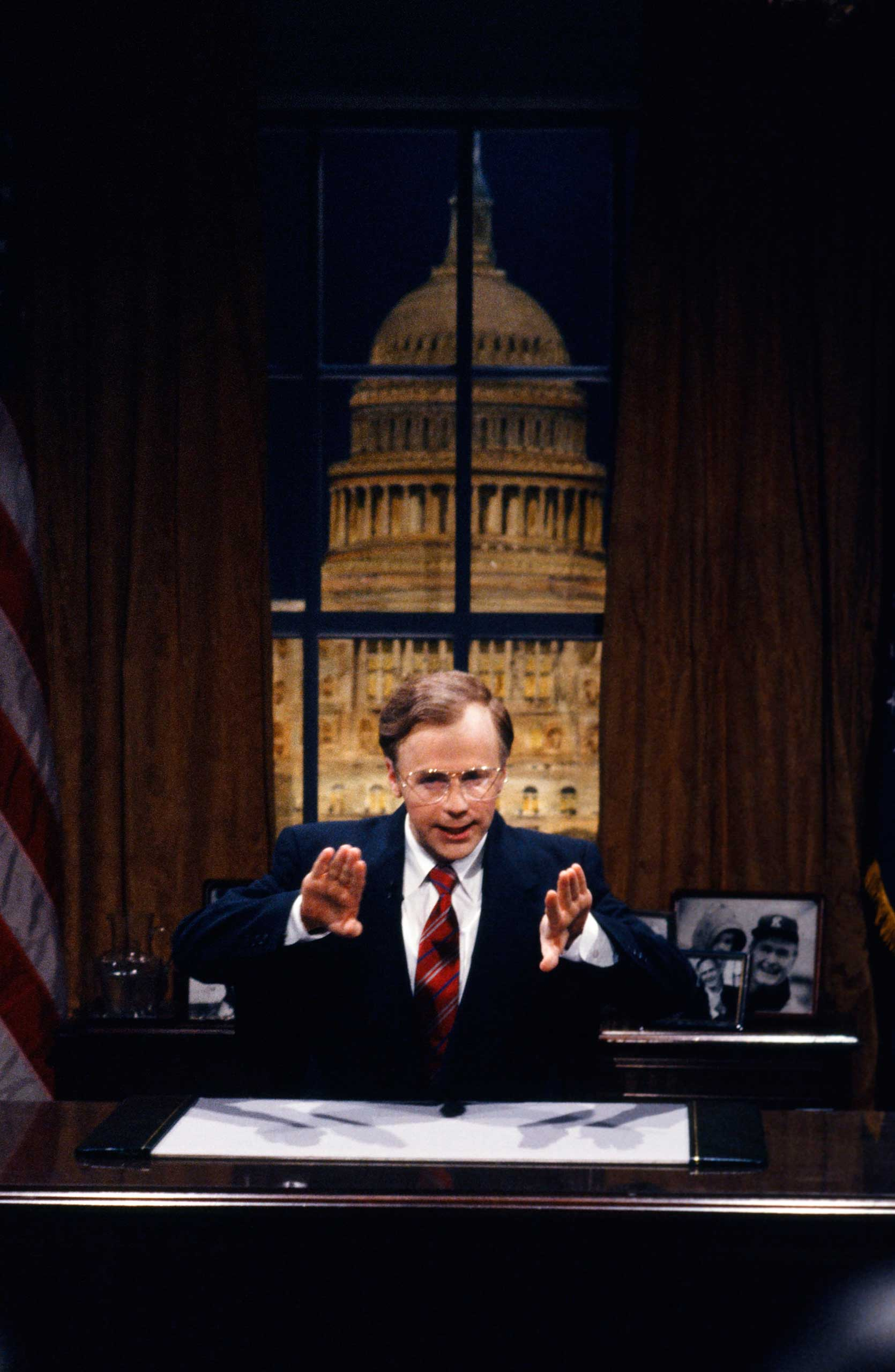 Dana Carvey as President George Bush during the 'Cuomo's Name' skit on Nov. 10, 1990.