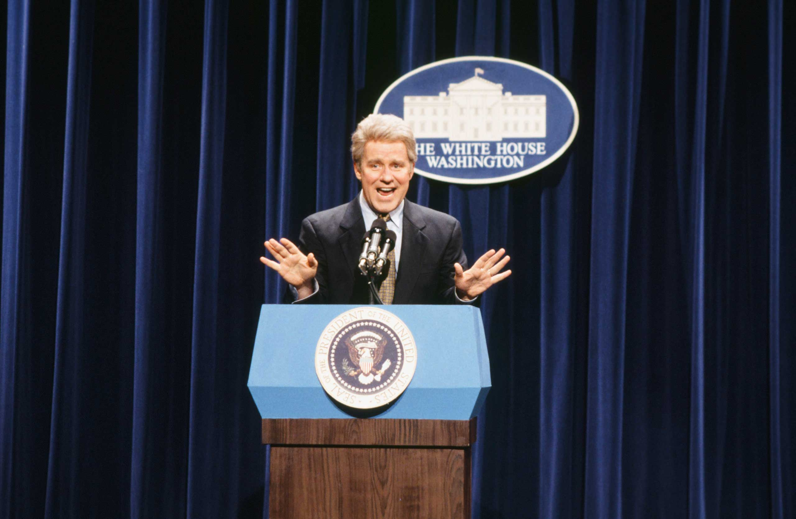 Phil Hartman as Bill Clinton during the 'Press Conference' skit on March 12, 1994.