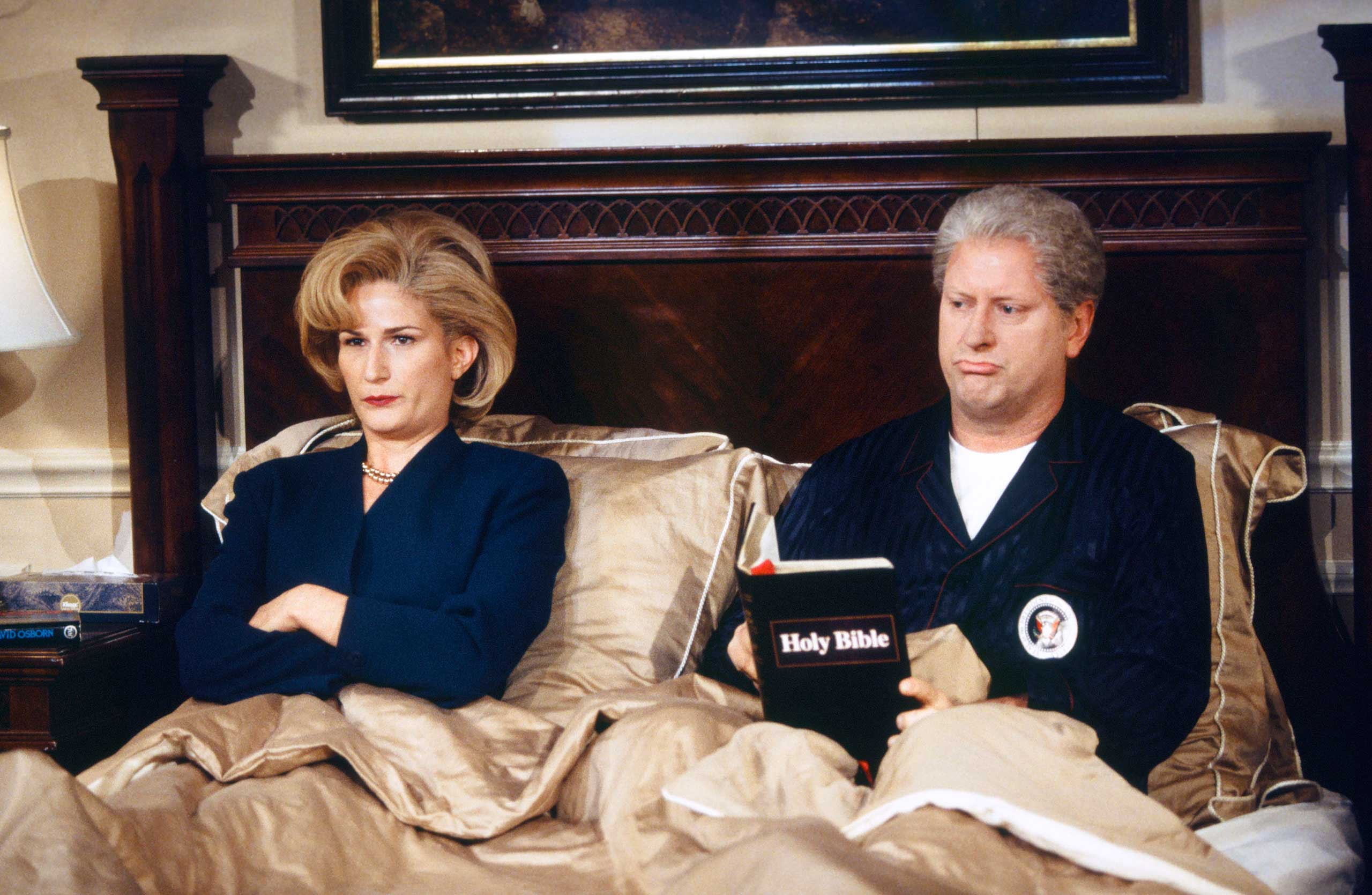 Ana Gasteyer as Hillary Clinton and Darrell Hammond as President Bill Clinton during the 'Bedtime at the White House' skit on Oct. 3, 1998.