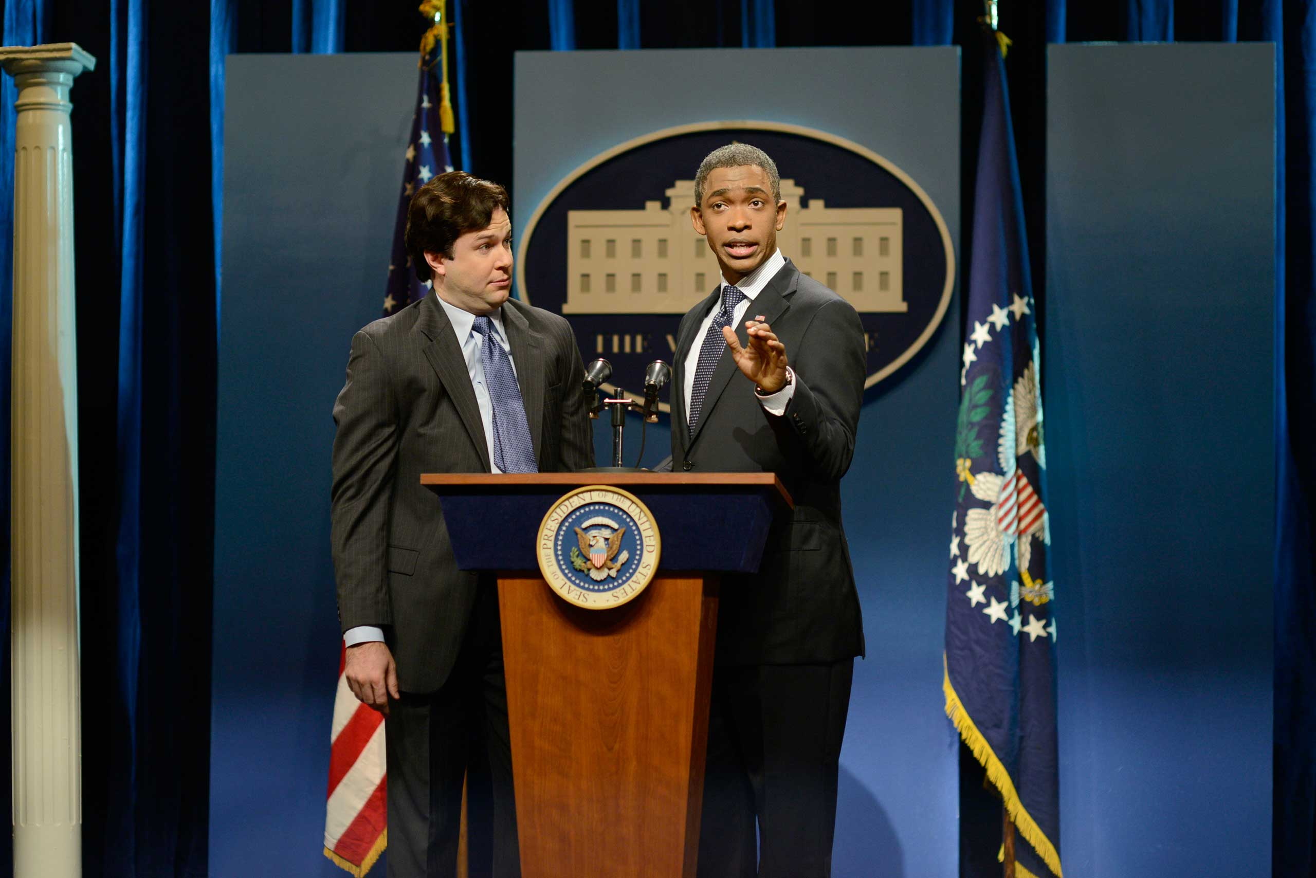 Taran Killam as Ron Klain and Jay Pharoah as President Obama during the 'Ebola Czar' skit on Oct. 25, 2014.