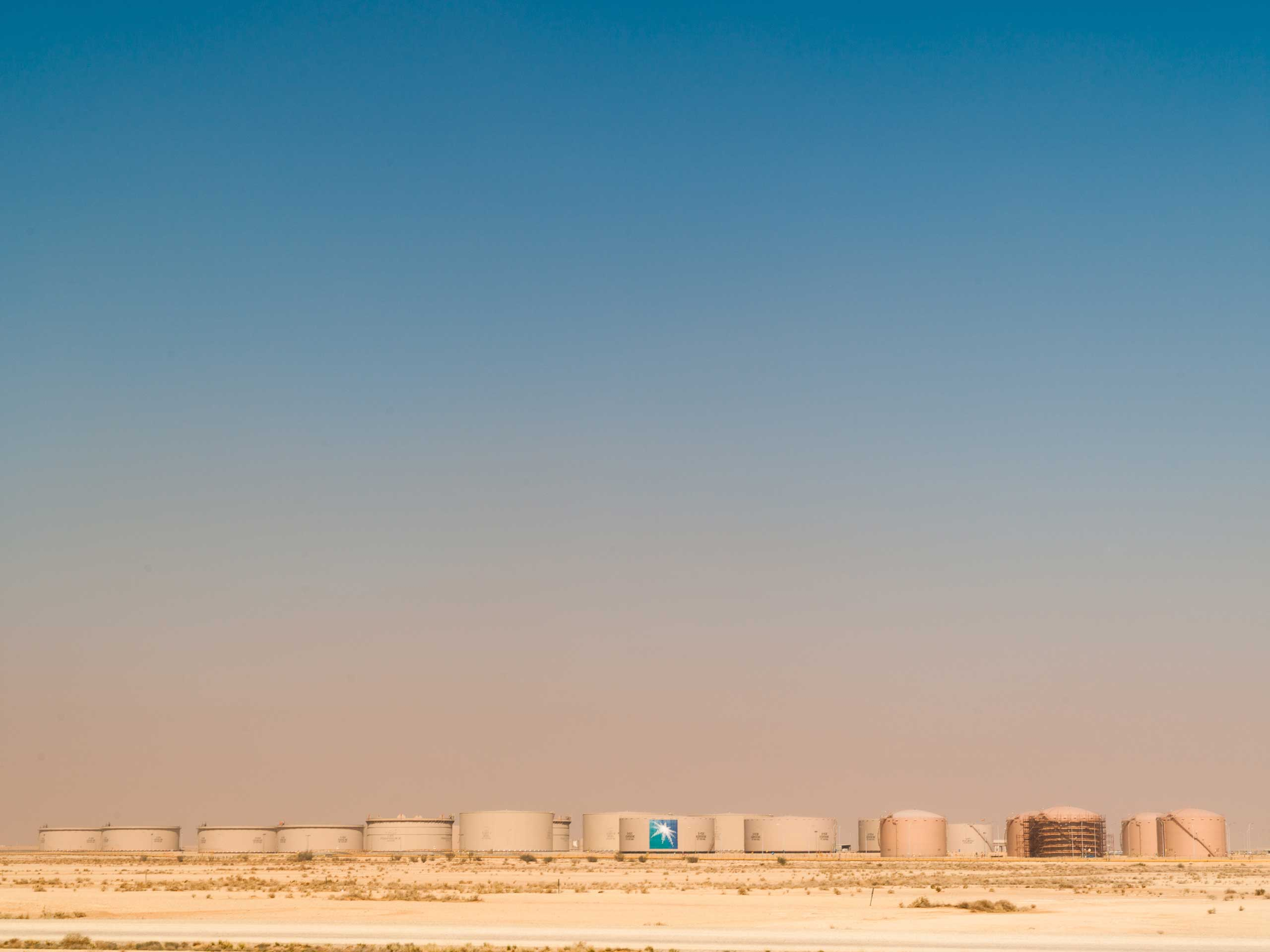 A city of oil tanks, one of many tank farms in the Eastern Province.