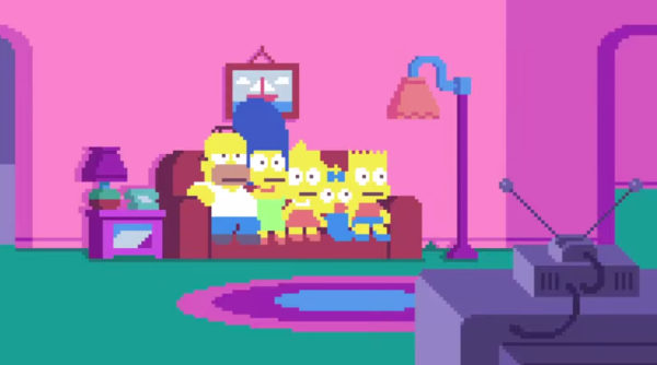 The Simpsons Couch Opening Recreated As Pixel Art Video Game Time