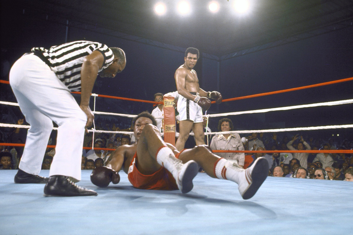 Ali vs. George Foreman in Zaire, 1974                               Al Sharpton:  I chose this photo because it took place in 1974 in Zaire, Africa, where Ali regained his title of heavyweight champion of the world after having been stripped of this title for refusing to serve in the war in Vietnam and being persecuted for his religious beliefs. He returned in triumph to prove he was great and that night became a hero across the world.                                                               Al Sharpton is a Baptist minister, civil rights activist and television and radio talk-show host.