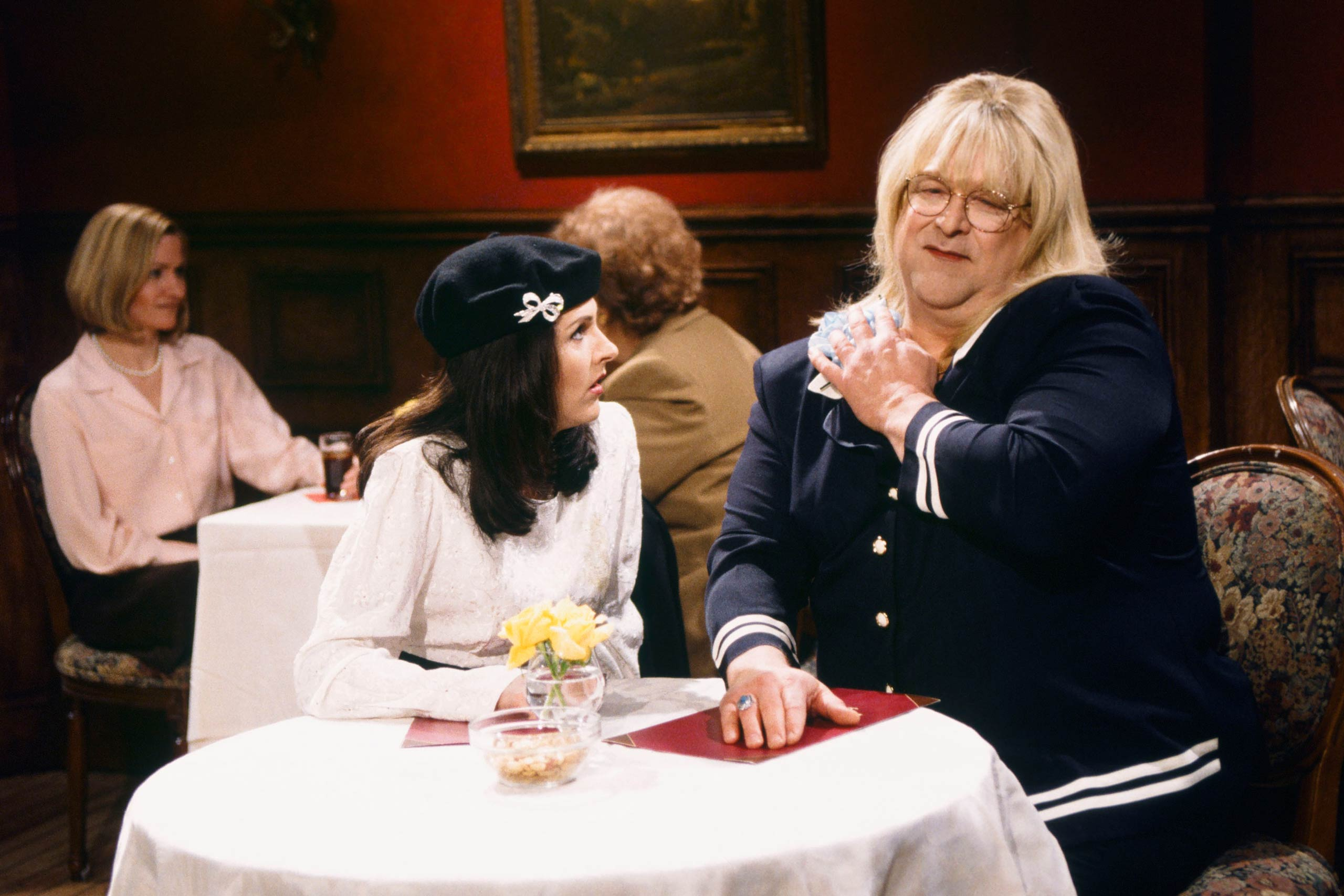 From left: Molly Shannon as Monica Lewinsky and John Goodman as Linda Tripp in 1998.