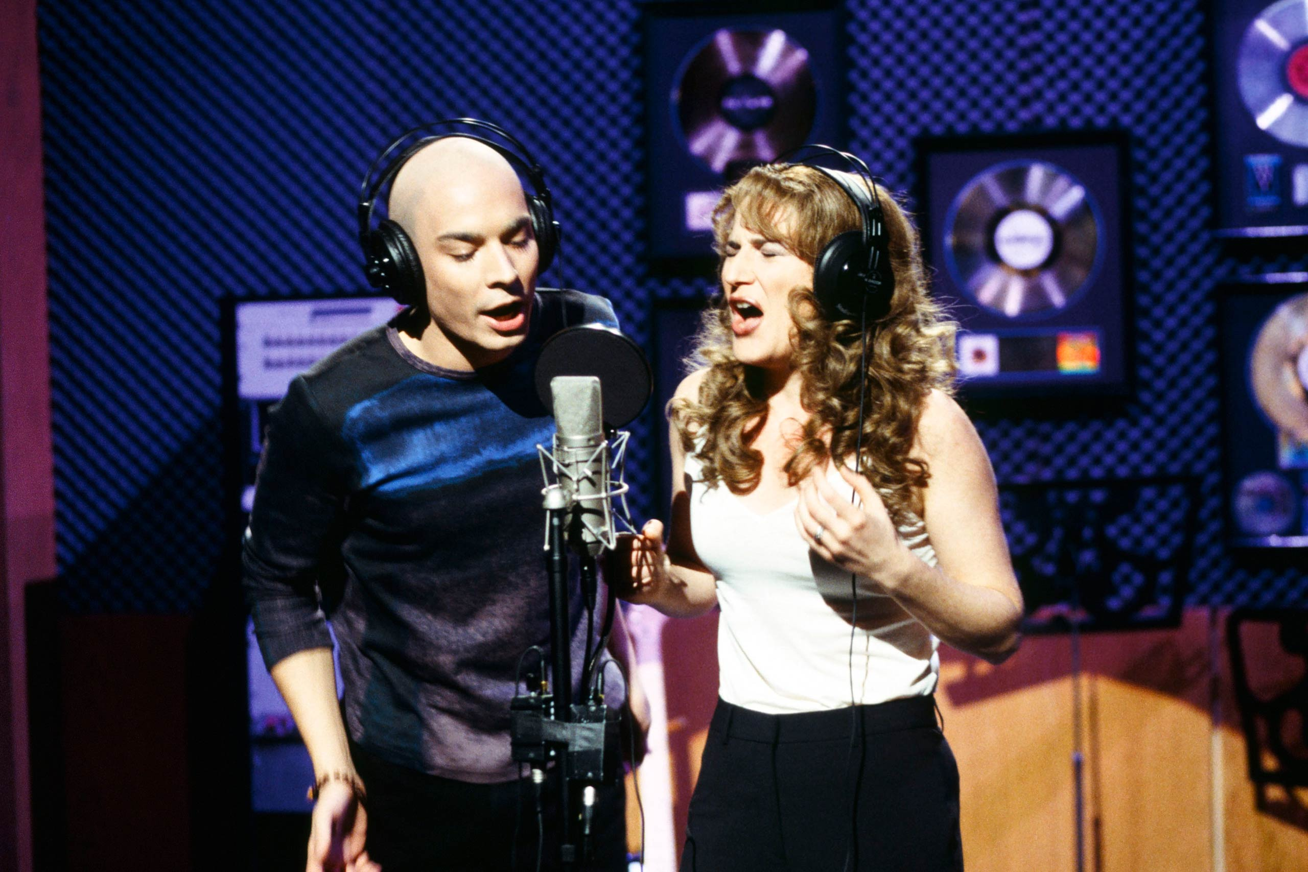 From left: Jimmy Fallon as Michael Stipe and Ana Gasteyer as Celine Dion in 1998.