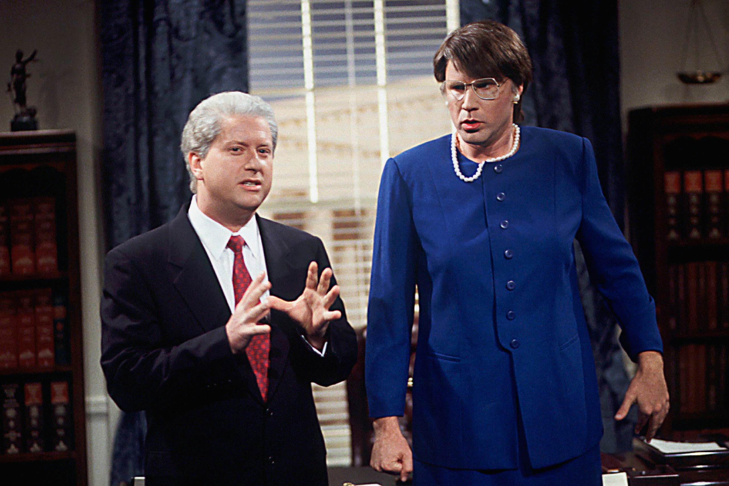 From left: Darrell Hammond as Bill Clinton and Will Ferrell as Janet Reno in 2007.