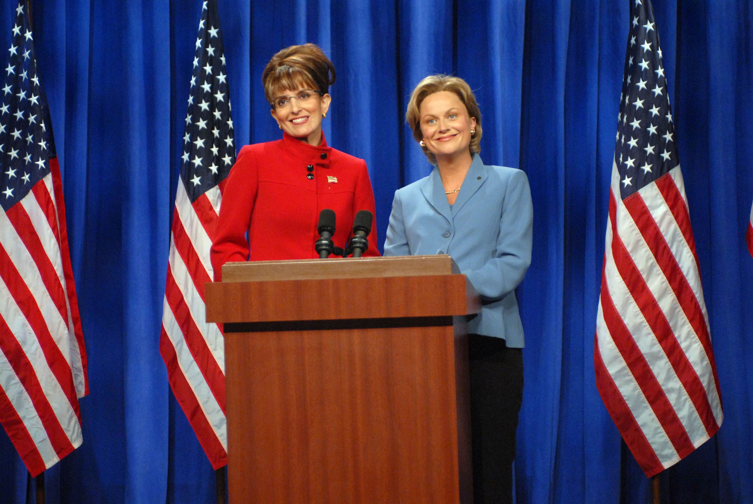 From left: Tina Fey as Governor Sarah Palin and Amy Poehler as Senator Hillary Clinton in 2008.