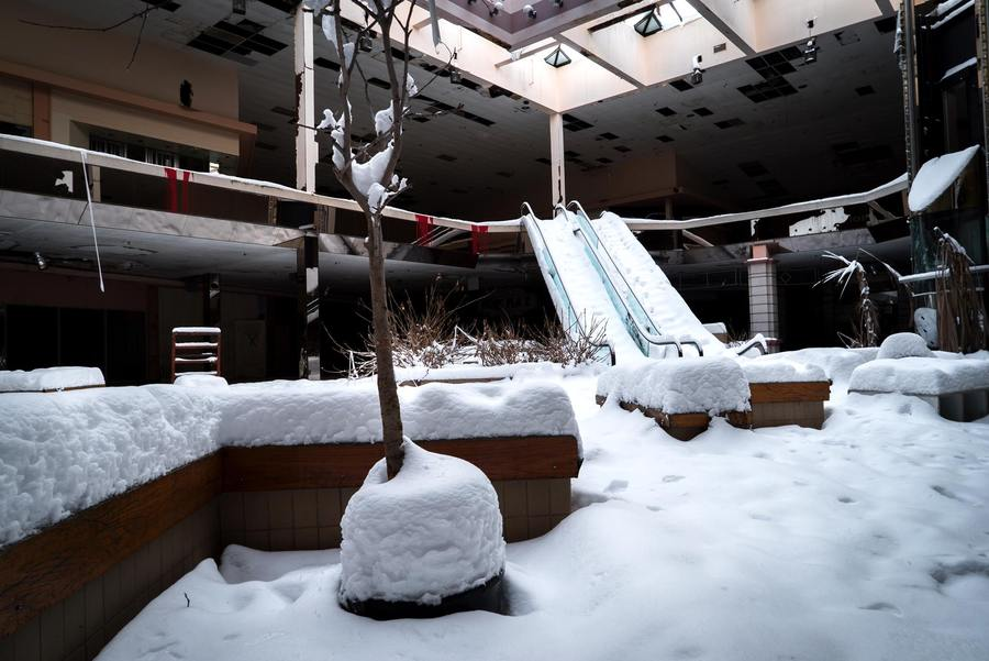 Snow covers the abandoned Rolling Acres Mall in Akron, Ohio.