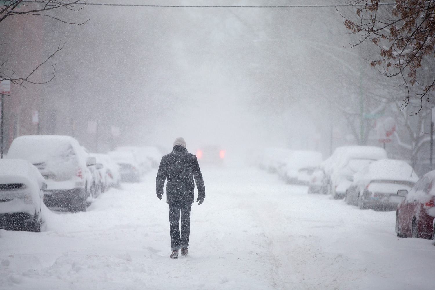 A man walks down a snow-covered street on Feb. 1, 2015 in Chicago, Illinois.
