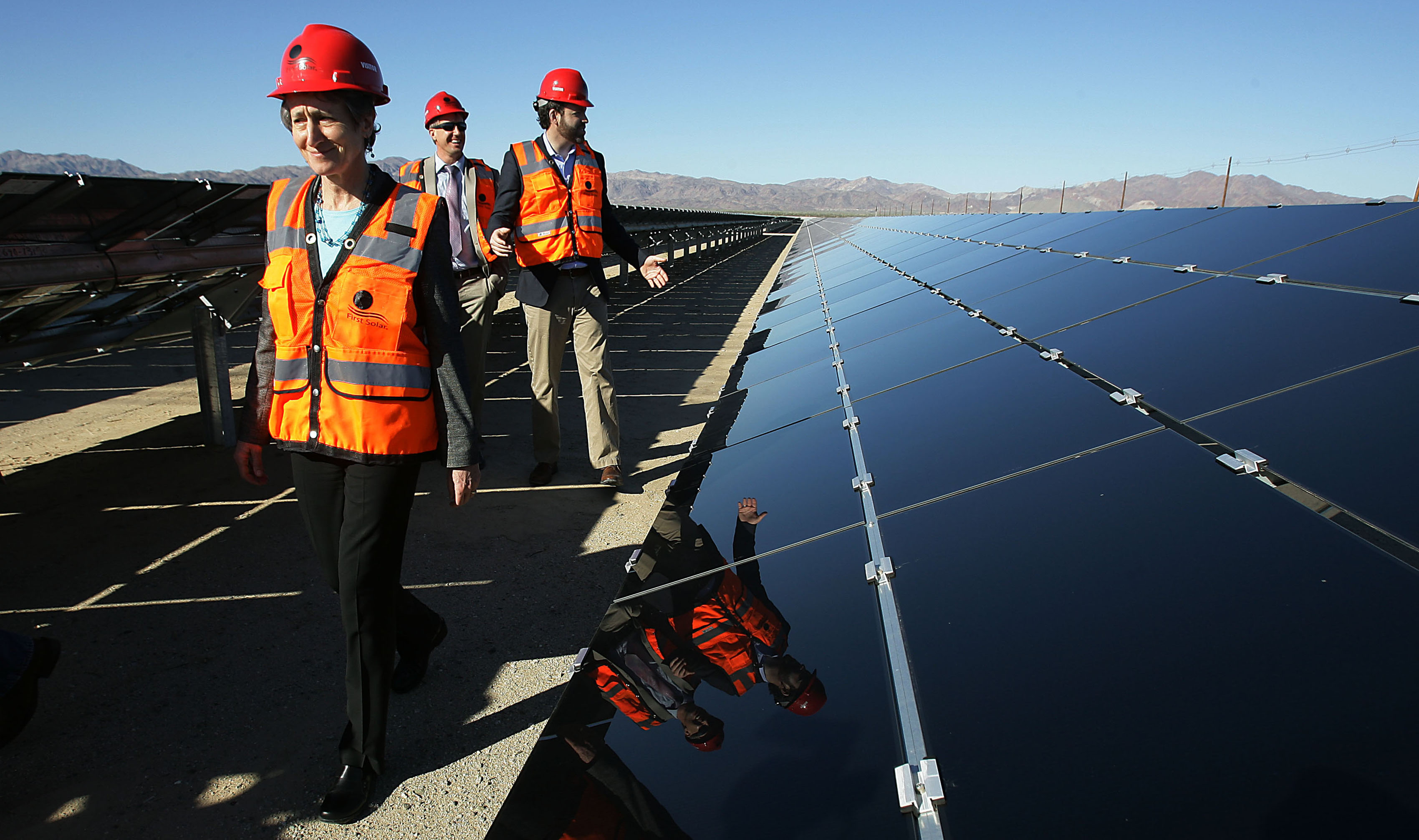 U.S. Secretary of Interior Sally Jewell, left, tours the plant during the power-on ceremony at Desert Sunlight Solar Farm in Desert Center, Calif., on Feb. 9, 2015