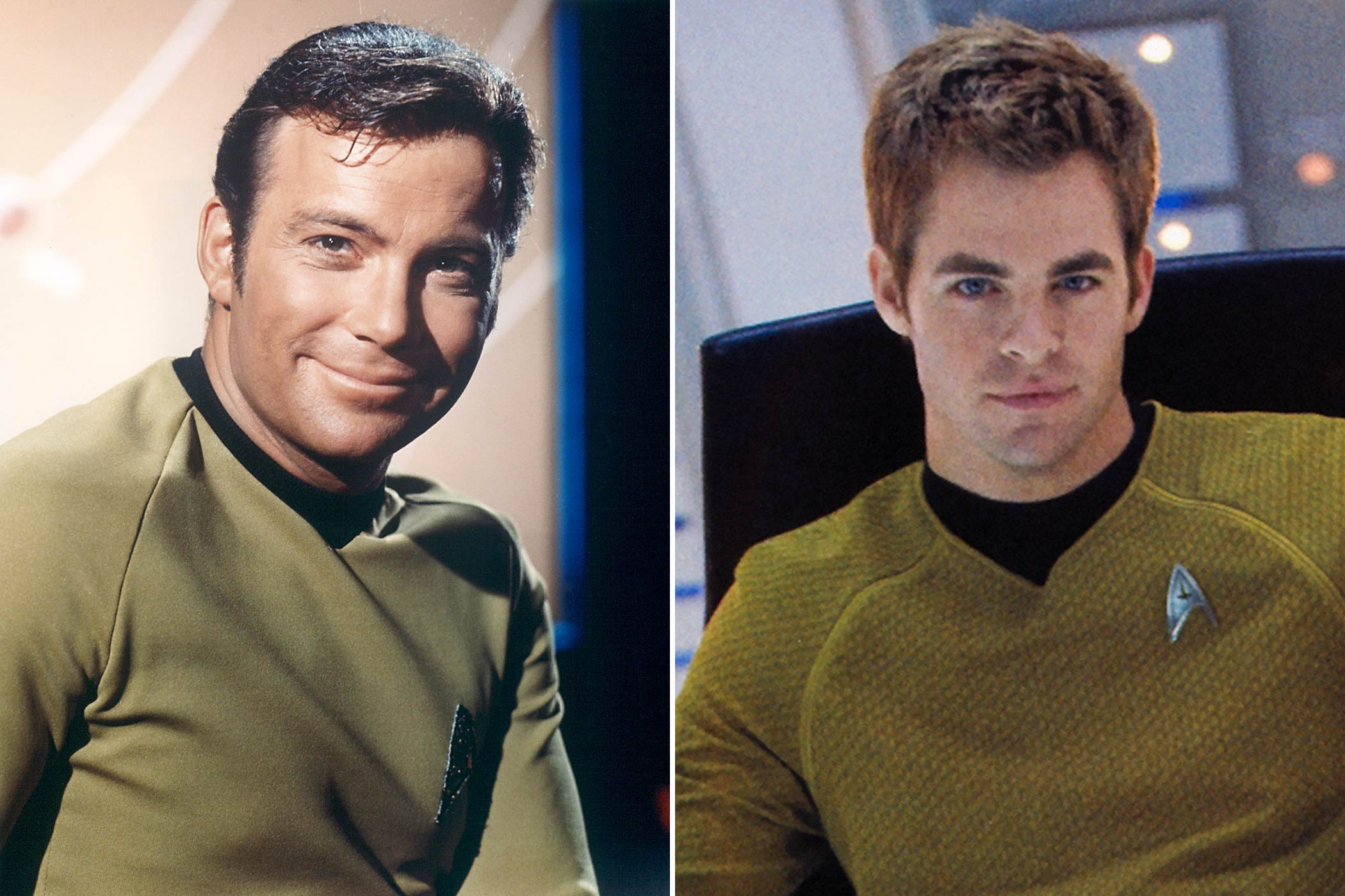 From left: William Shatner and Chris Pine as James T. Kirk
