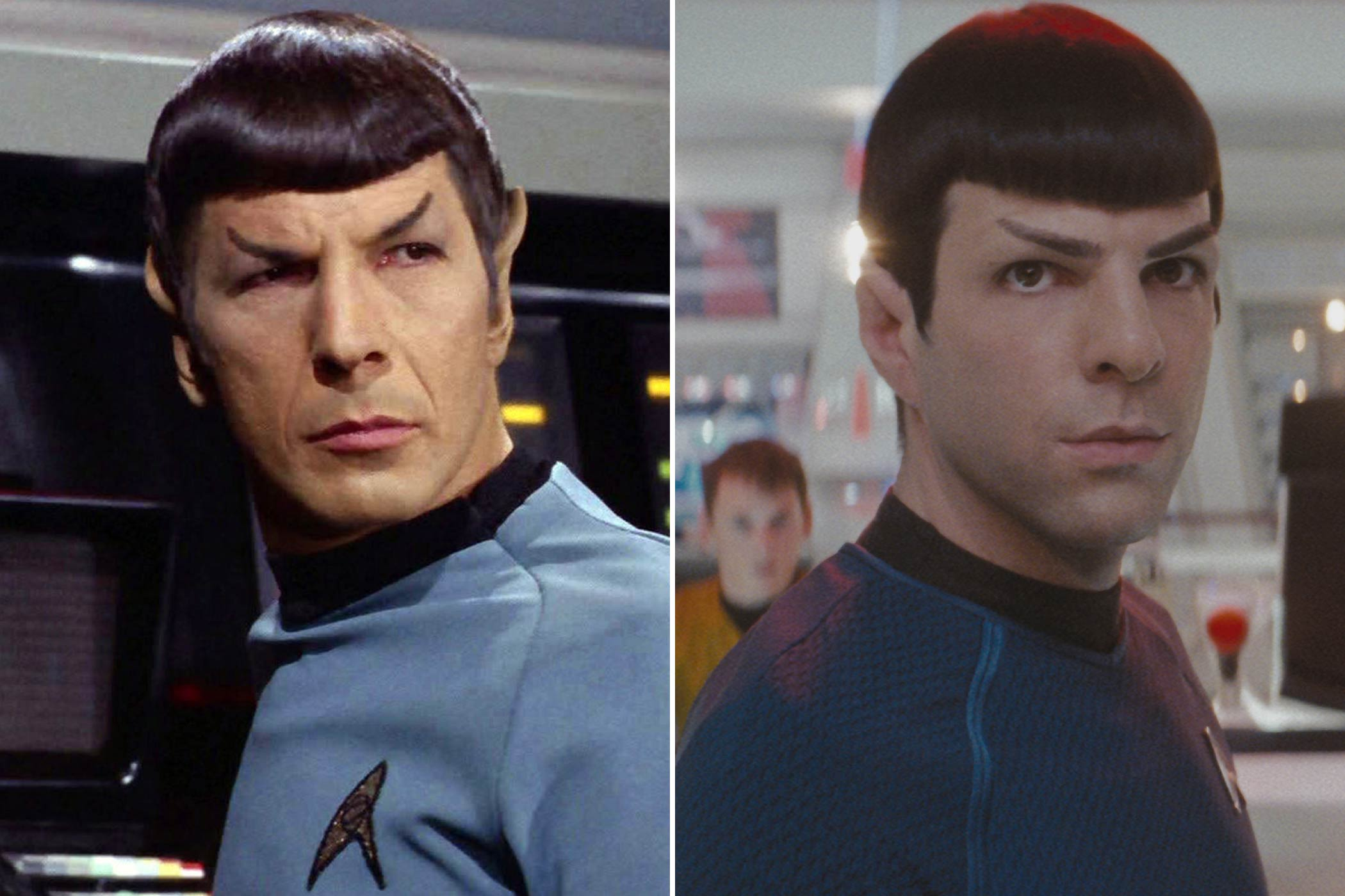 From left: Leonard Nimoy and Zachary Quinto as Mr. Spock