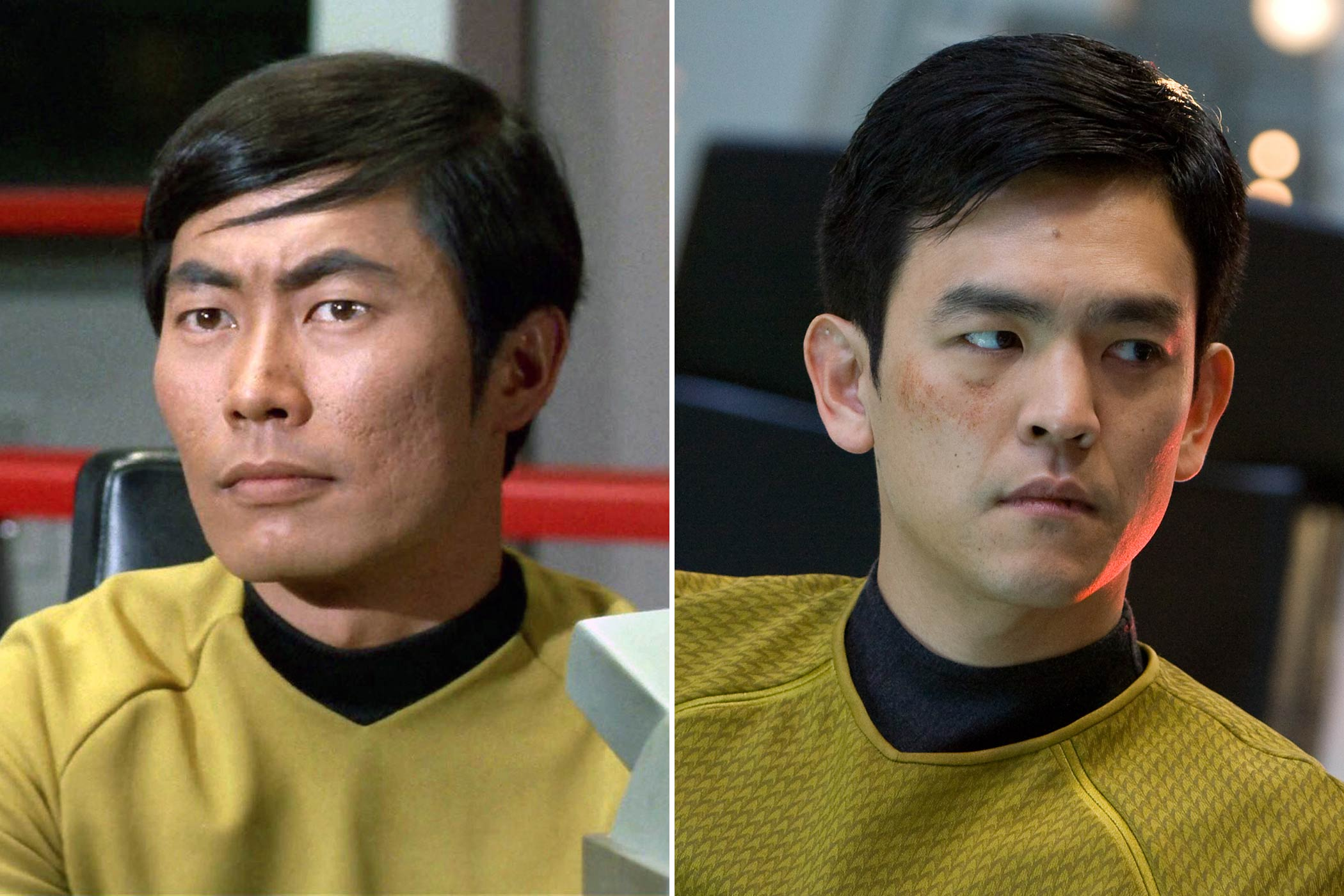 From left: George Takei and John Cho as Hikaru Sulu