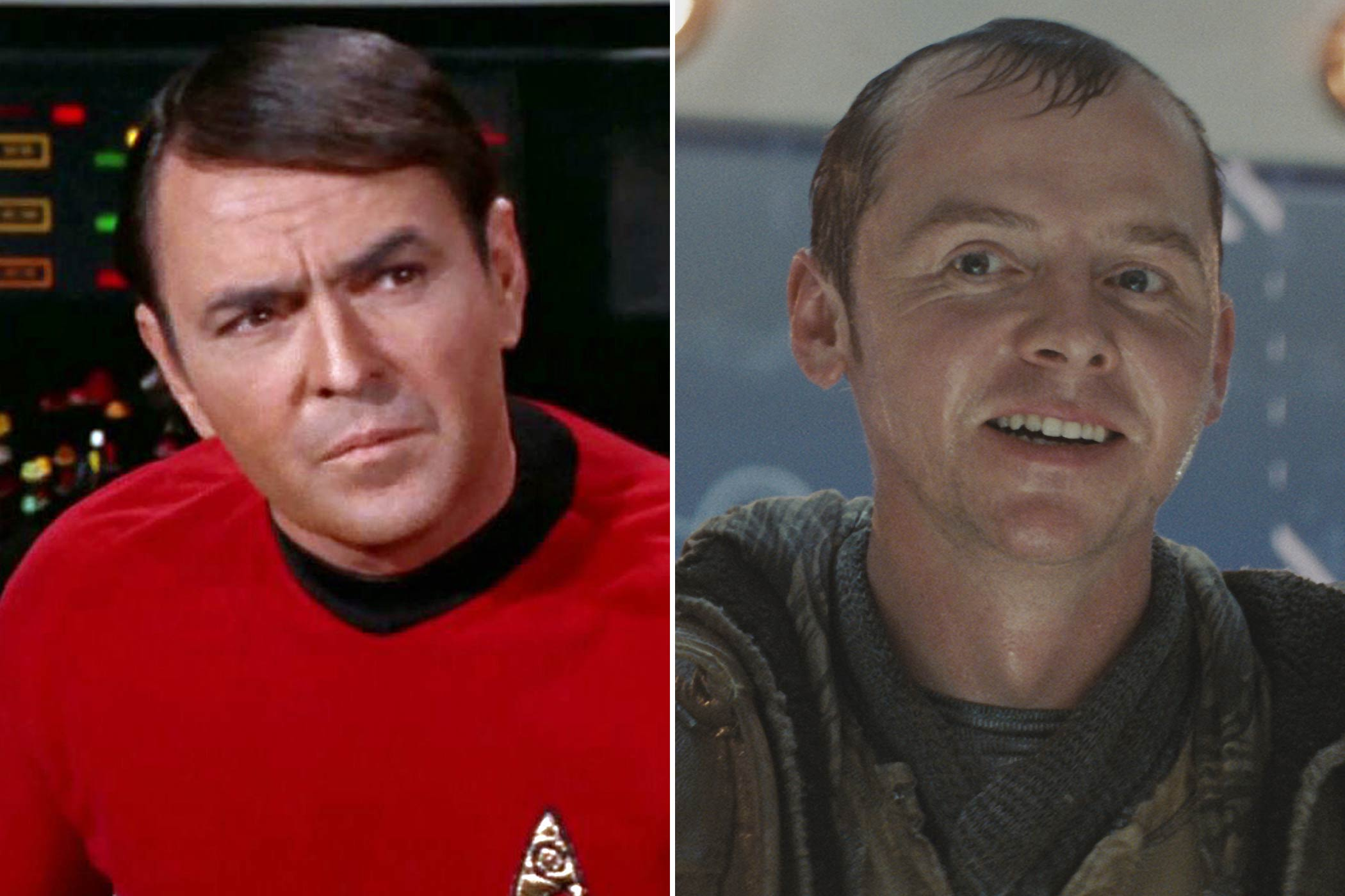 From left: James Doohan and Simon Pegg as Scotty