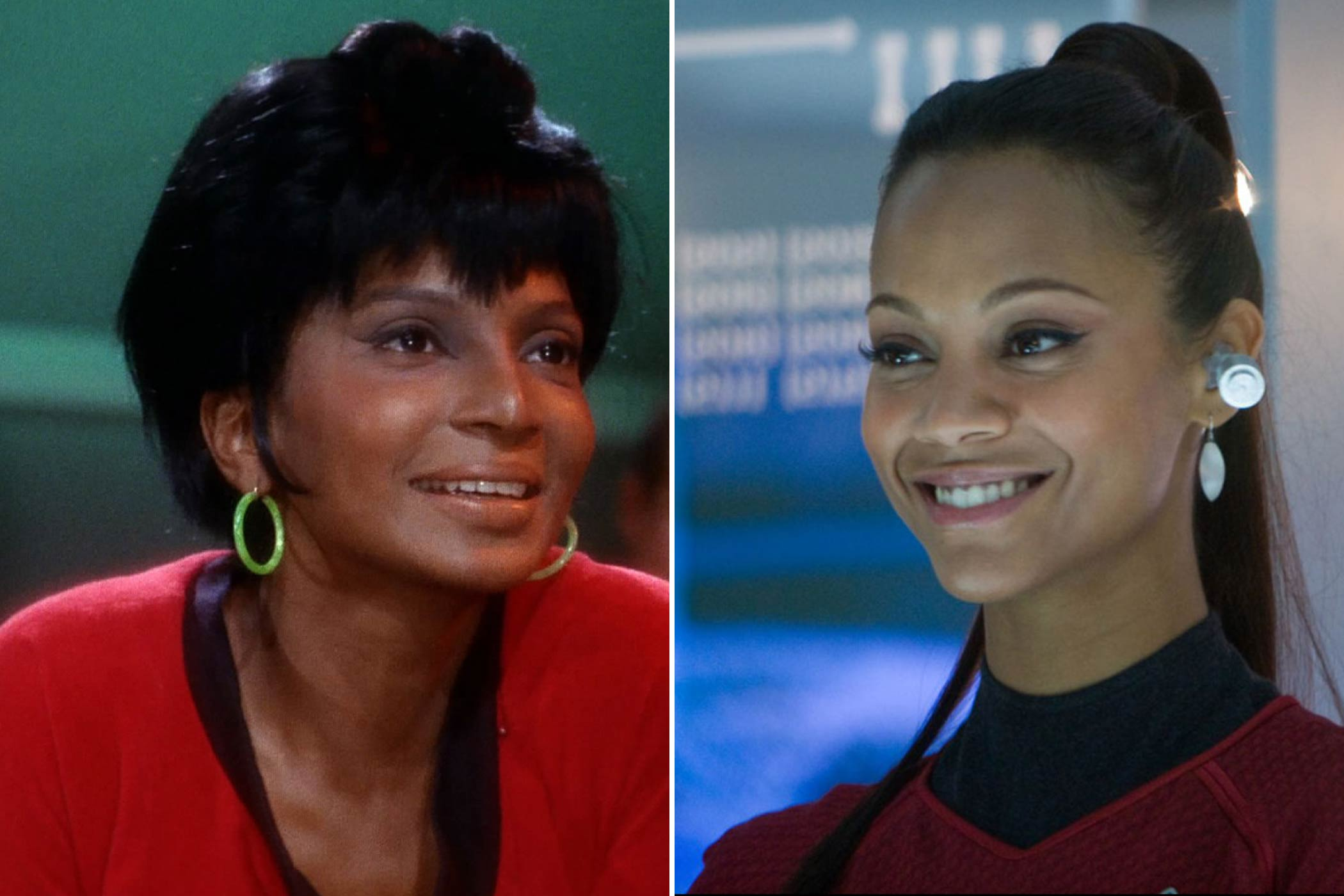 From left: Nichelle Nichols and Zoe Saldana as Nyota Uhura