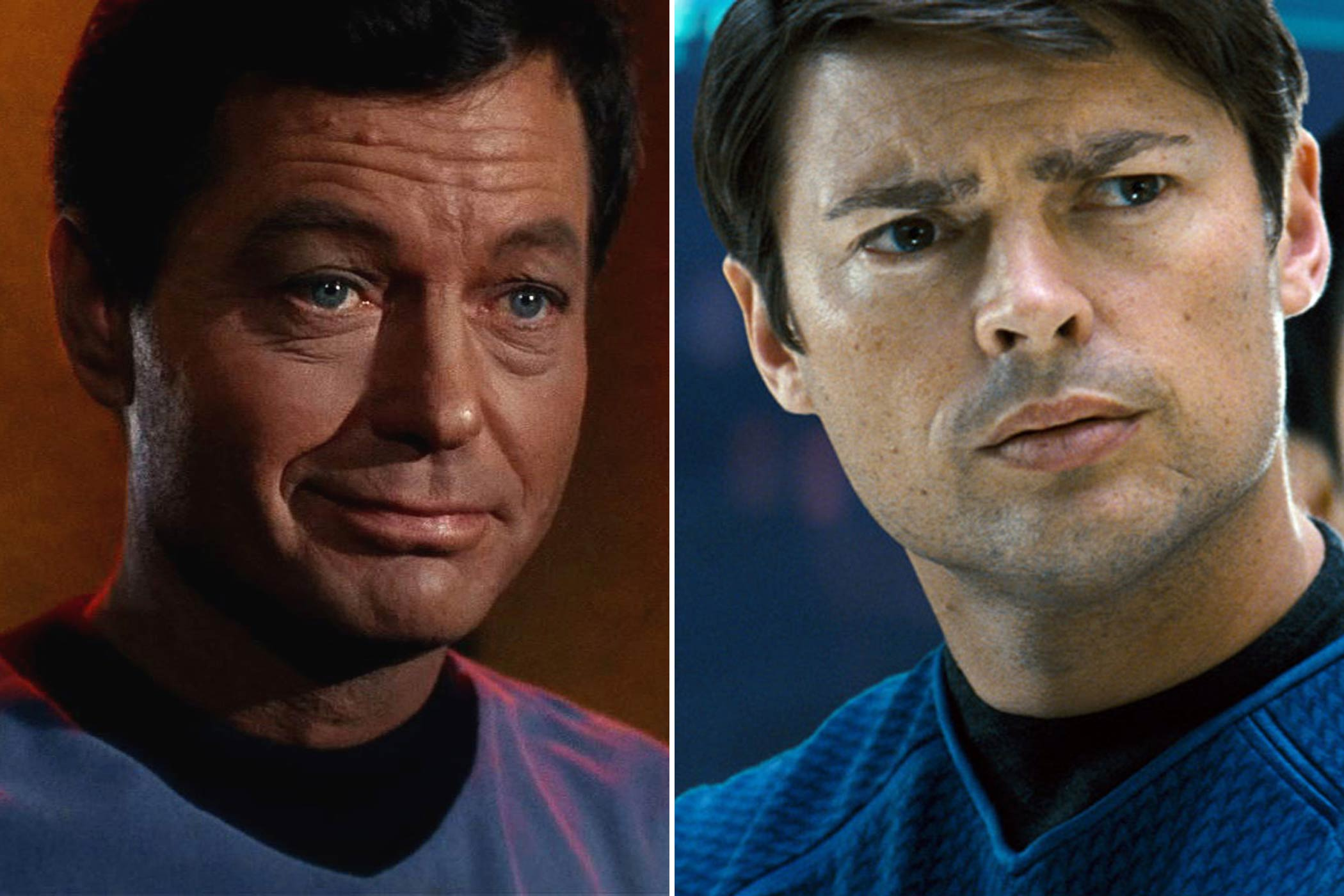 "From left: DeForest Kelley and Karl Urban as Dr. Leonard ""Bones"" McCoy"