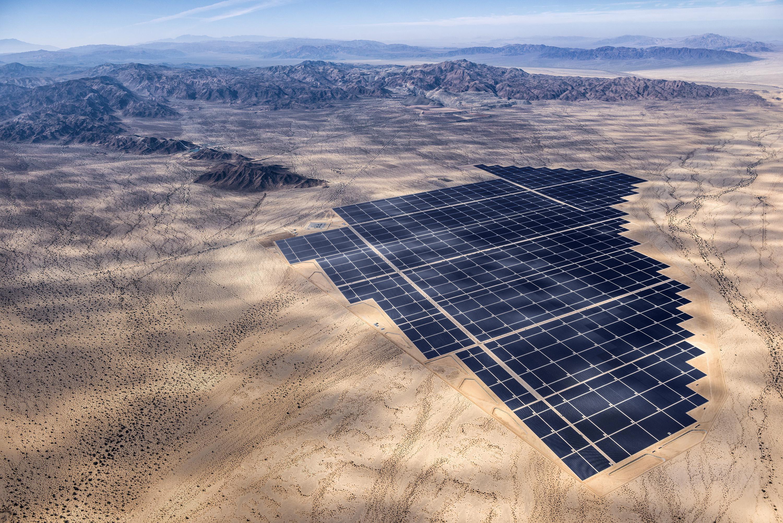 Desert oasis: The plant's 8million solar panels power about 160,000 California homes