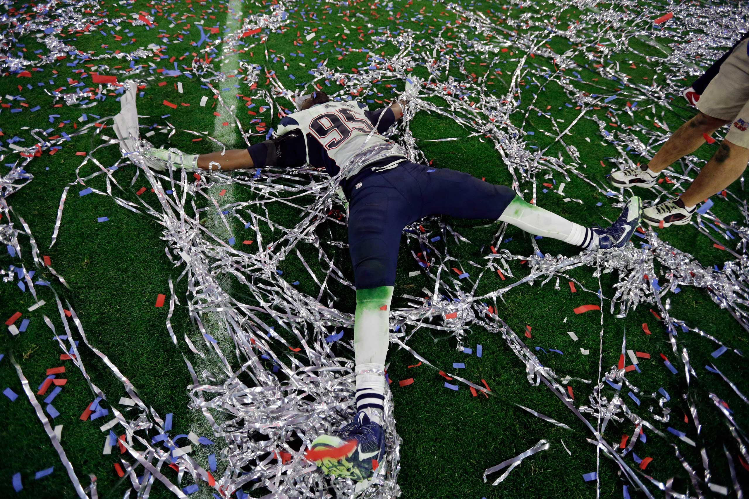 Chandler Jones of the New England Patriots celebrates after the Patriots defeated the Seattle Seahawks 28-24 in the Super Bowl XLIX on Feb. 1, 2015, in Glendale, Ariz.
