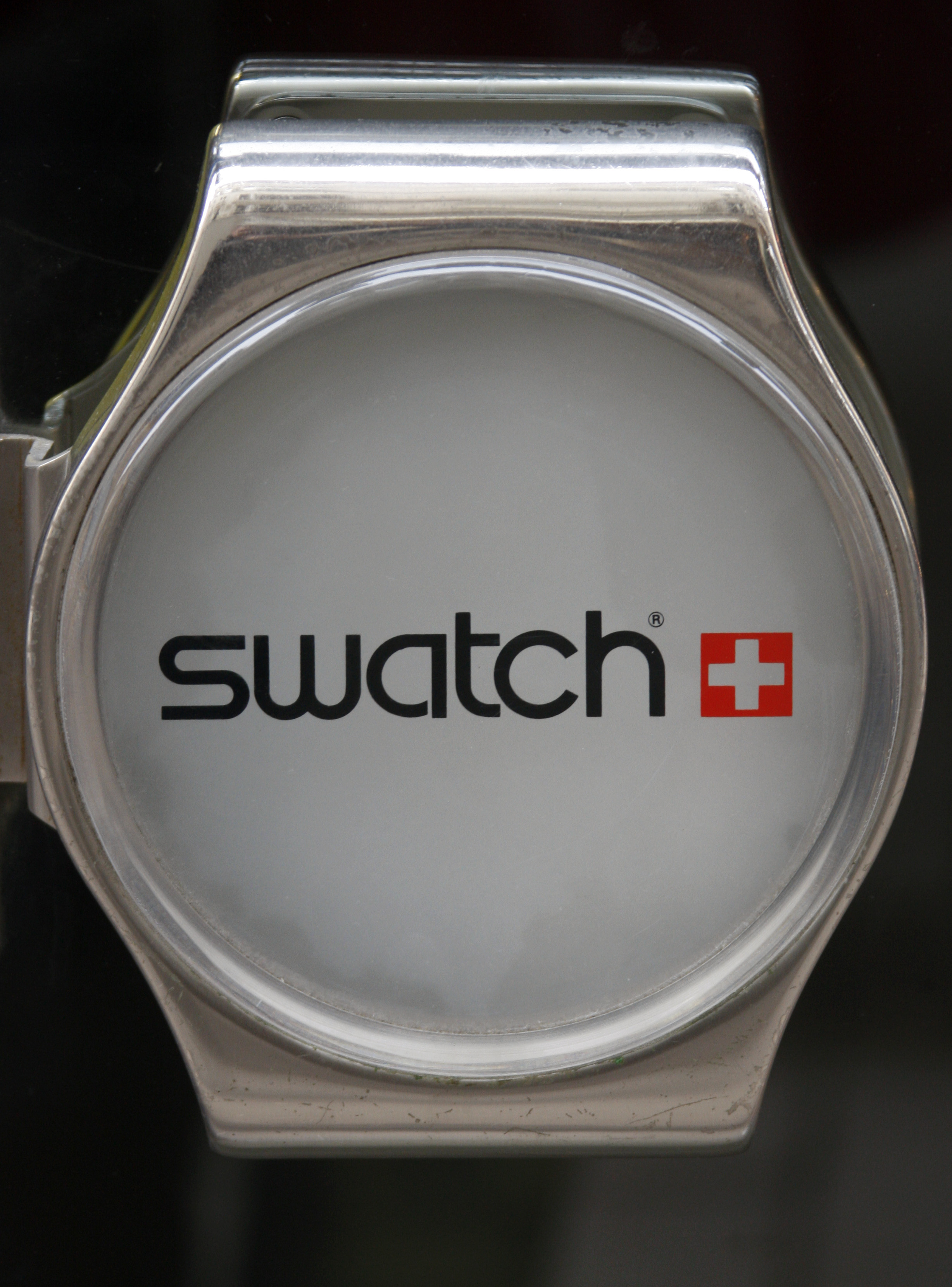 The logo of Swiss watchmaker Swatch is seen on the door of a Swatch watches shop in Strasbourg on March 12, 2009.
