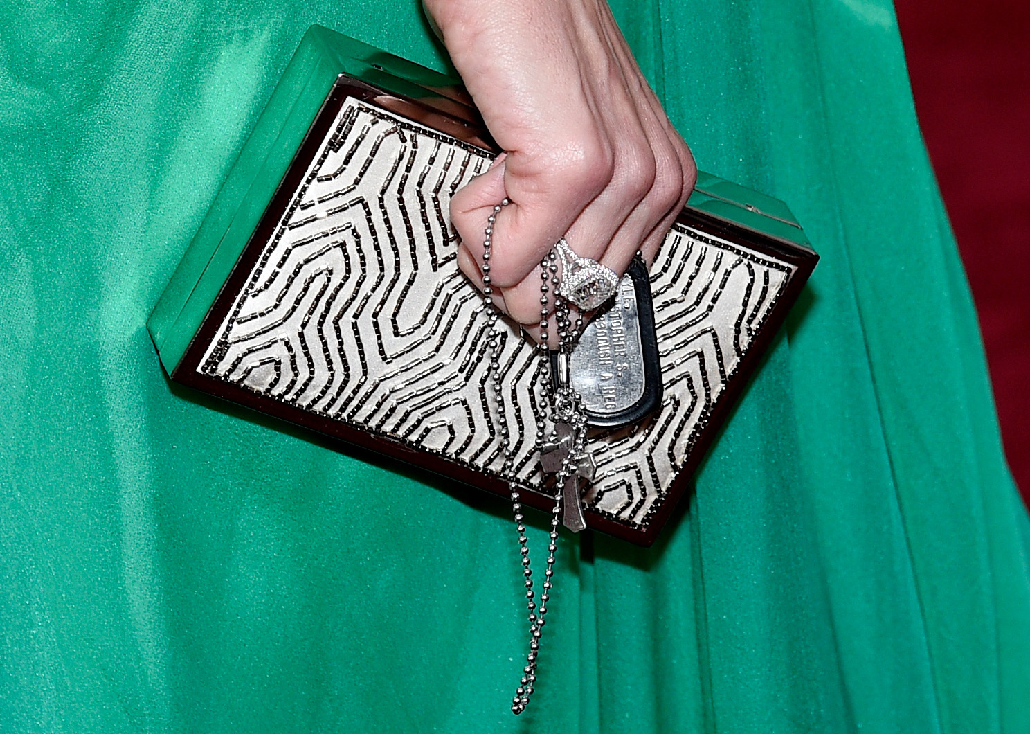 HOLLYWOOD, CA - FEBRUARY 22: A detailed view of the purse of Taya Kyle at the 87th annual Academy Awards at Hollywood & Highland Center on Feb. 22, 2015, in Hollywood