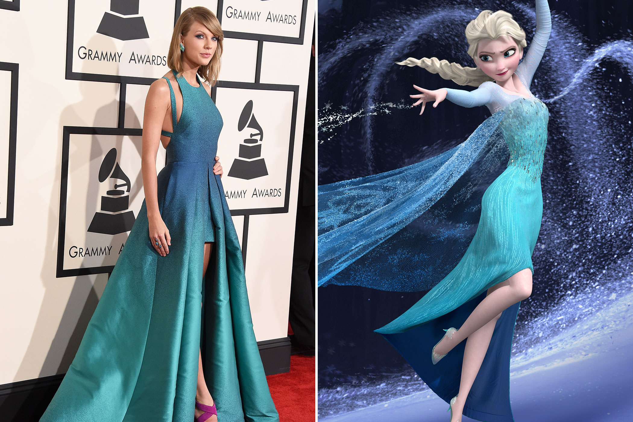 From left: Taylor Swift at the 2015 Grammys; Elsa from Frozen