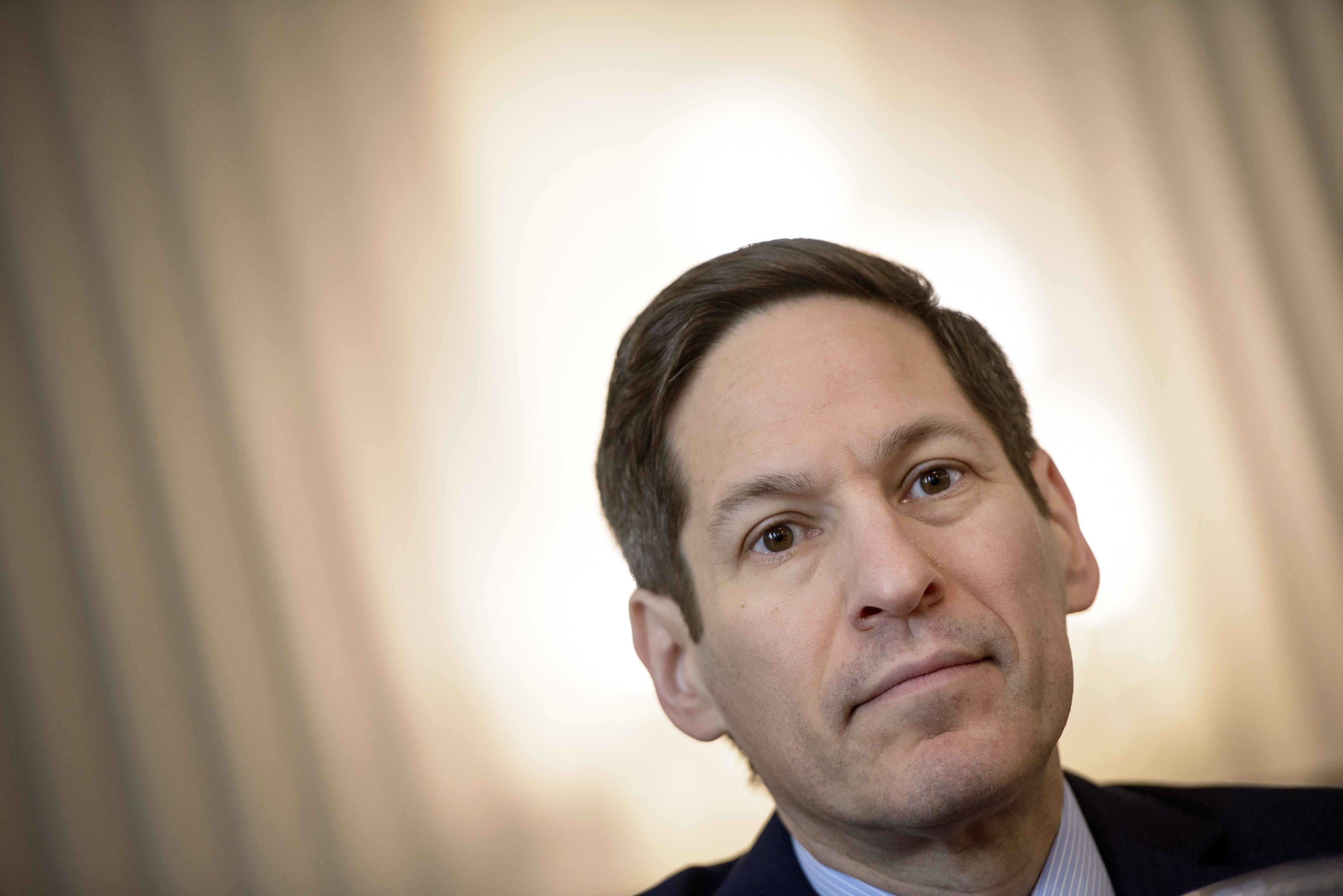Tom Frieden, director of the Centers for Disease Control and Prevention, listens during a press conference on Capitol Hill on Jan. 13, 2015, in Washington