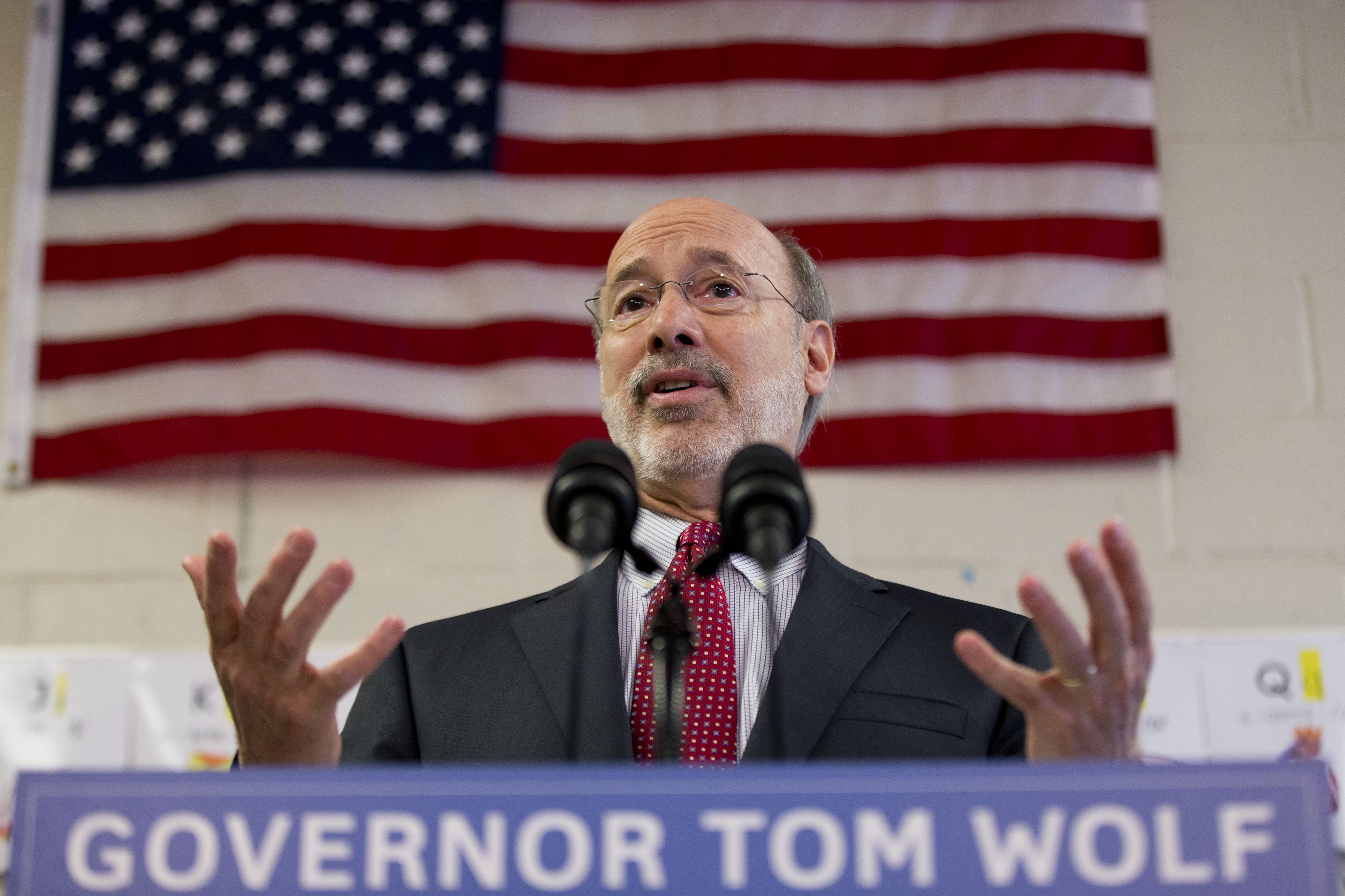 Gov. Tom Wolf Caln speaks during a news conference at Elementary School on Feb. 11, 2015, in Thorndale, Pa.