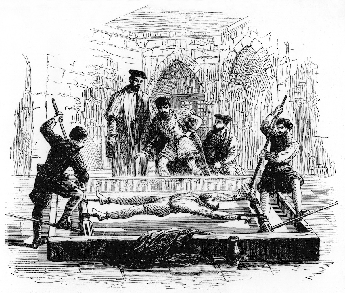 A 19th-century representation of a medieval torture device in use, from World of Wonders, published by Cassell and Co, (London, 1894).