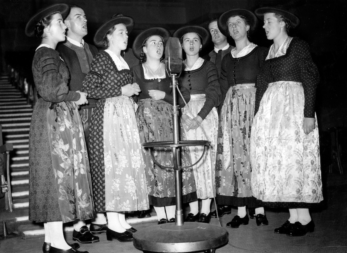 Family Von Trapp singing in a radioshow in London on Dec. 9, 1937