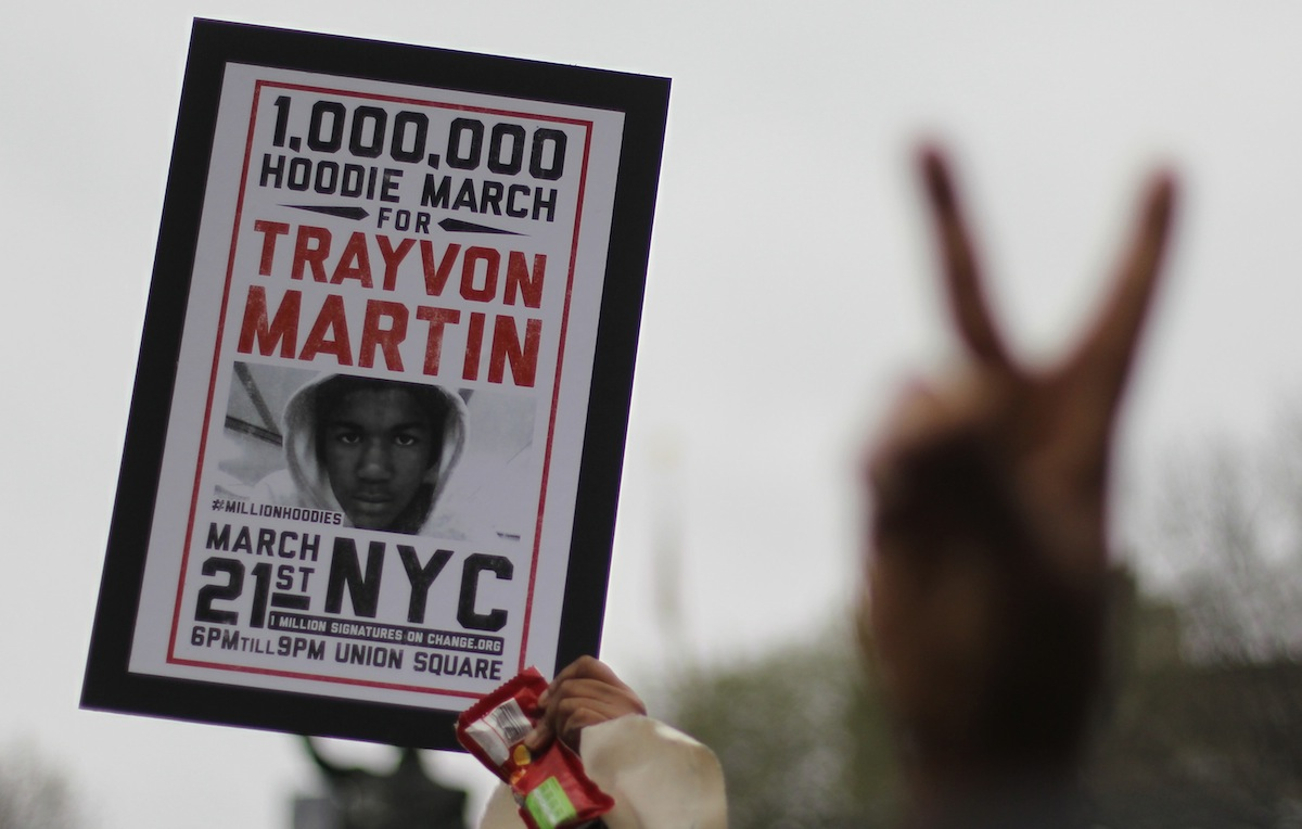 A Million Hoodies March protests the death Of Trayvon Martin on Mar. 21, 2012, in New York City.