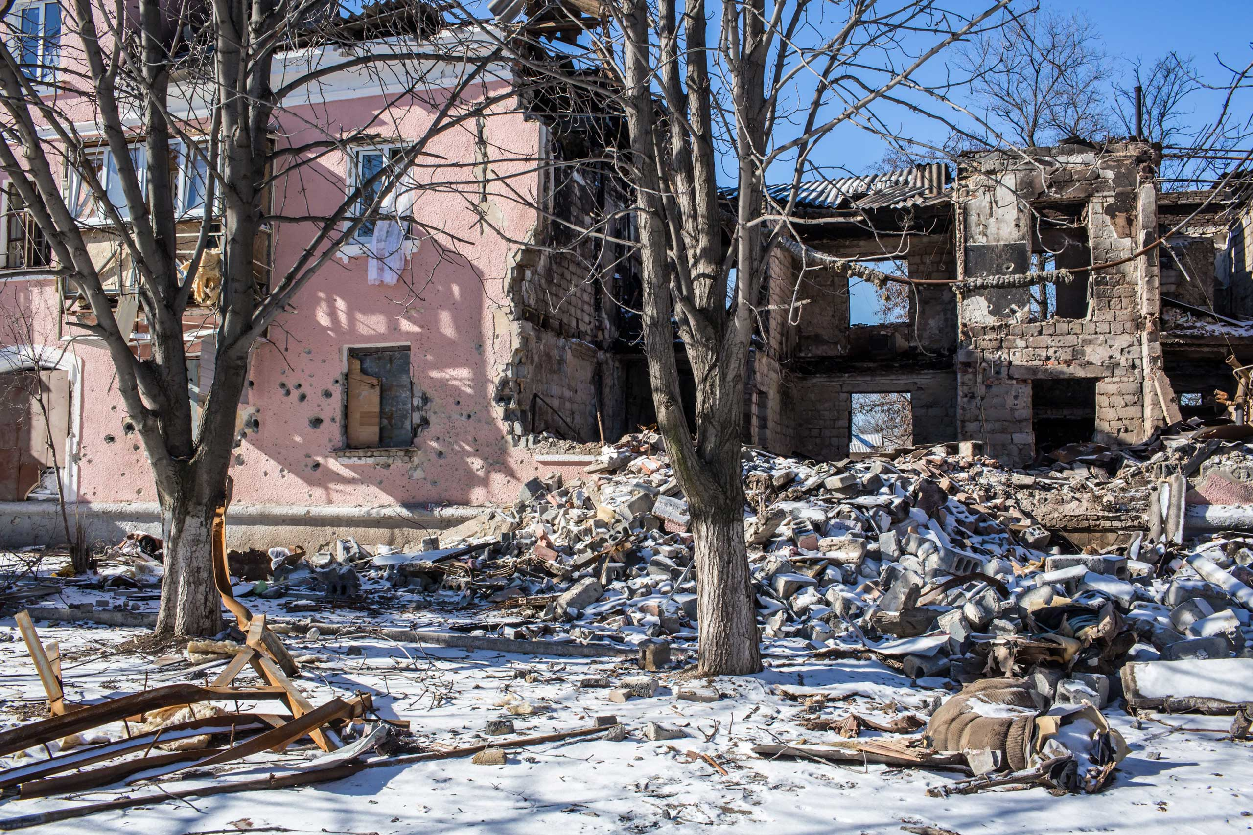 A building lies in ruins from being hit by a shell on Feb. 17, 2015 in Mironovka, near Debaltseve.