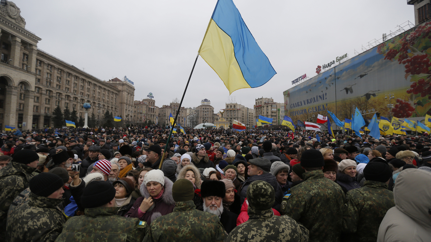 People march in downtown Kiev on Feb. 22, 2015, to commemorate last year's Maidan protest that toppled the country's pro-Kremlin government