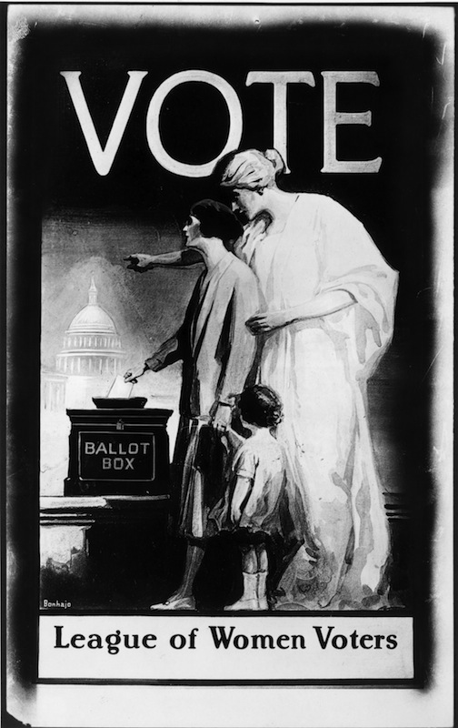 A poster, published by the League of Women Voters, urging women to use the vote which the 19th amendment gave them, from circa 1920