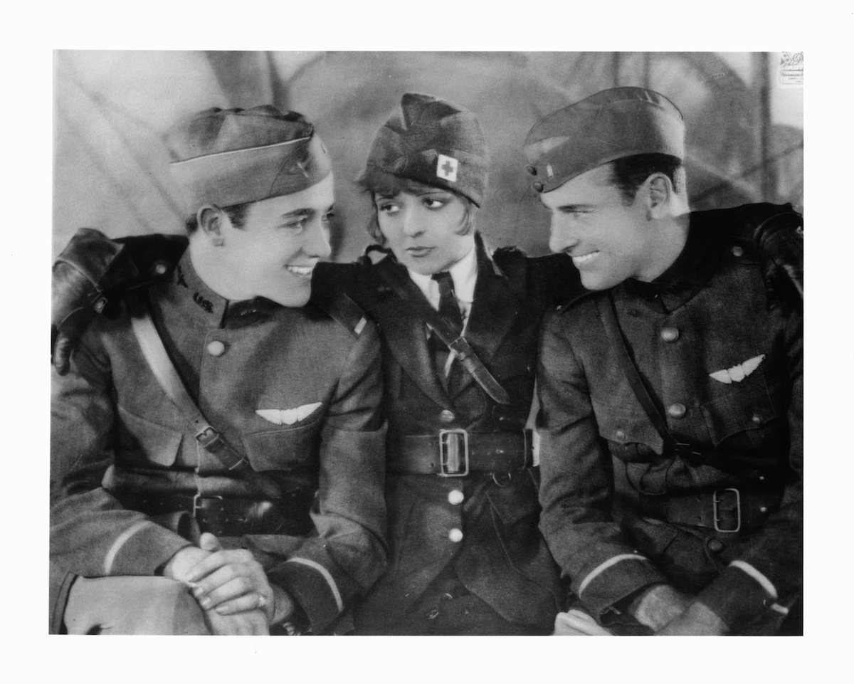 Charles 'Buddy' Rogers, Clara Bow, and Richard Arlen in publicity portrait for the film 'Wings'