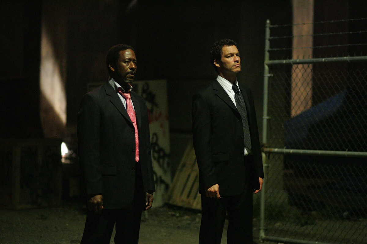 Clarke Peters, left, and Dominic West in a scene from season five of  The Wire