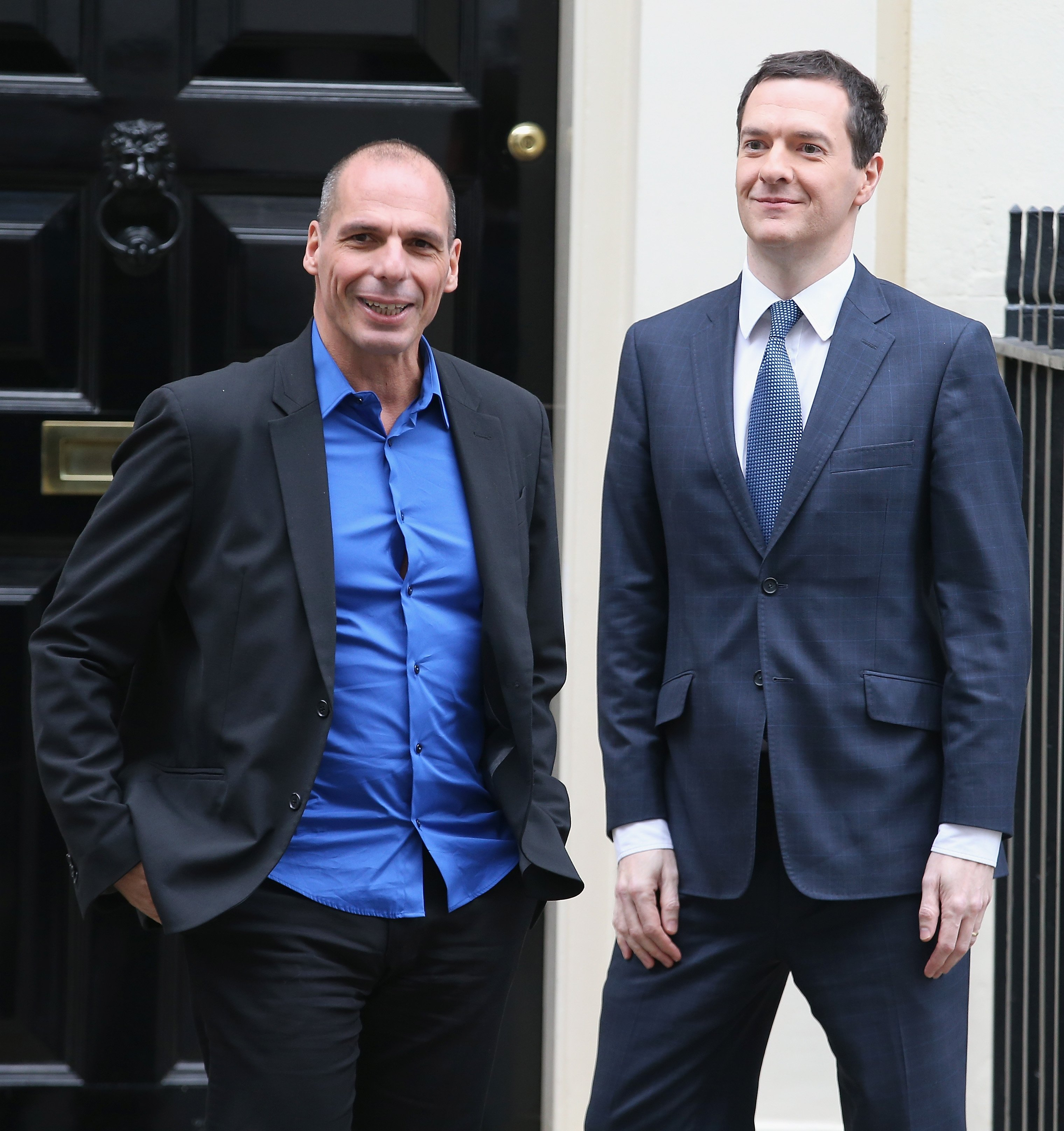 From left: Greece's finance minister Yanis Varoufakis leaves Number 11 Downing Street after meeting Chancellor of the Exchequer George Osborne on Feb. 2, 2015 in London.