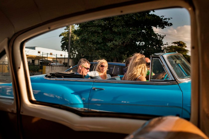 January 2015. Imported to Cuba before the revolution, vintage American cars are often popular with tourists cruising around Havana.