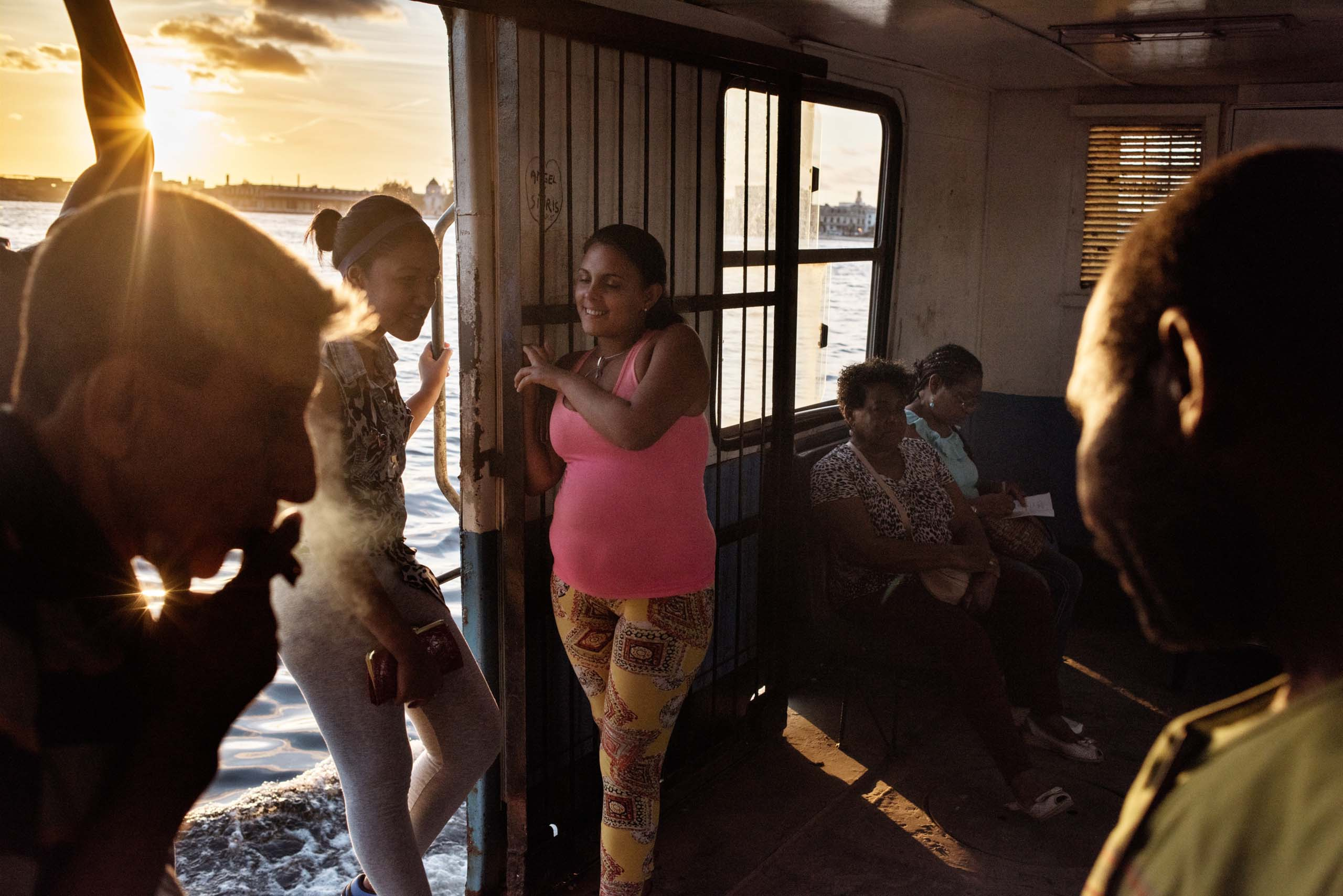 January 2015. A ferry transports passengers between Havana and Casablanca, a suburb of the Cuban capital.