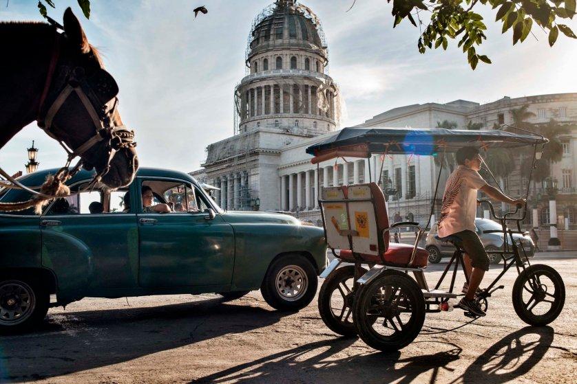 December 2014. The National Cuban Capitol Building in Havana is seen during restoration work.