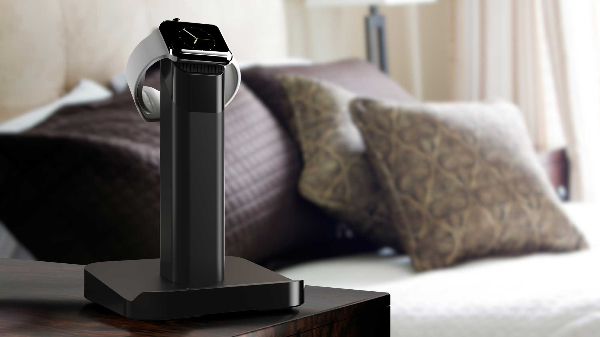 Griffin Watchstand This elegant watch stand ($29.99) doubles as an Apple Watch charger, allowing customers to slide in the Apple-provided magnetic charging cable so the device is ready to charge at all times.