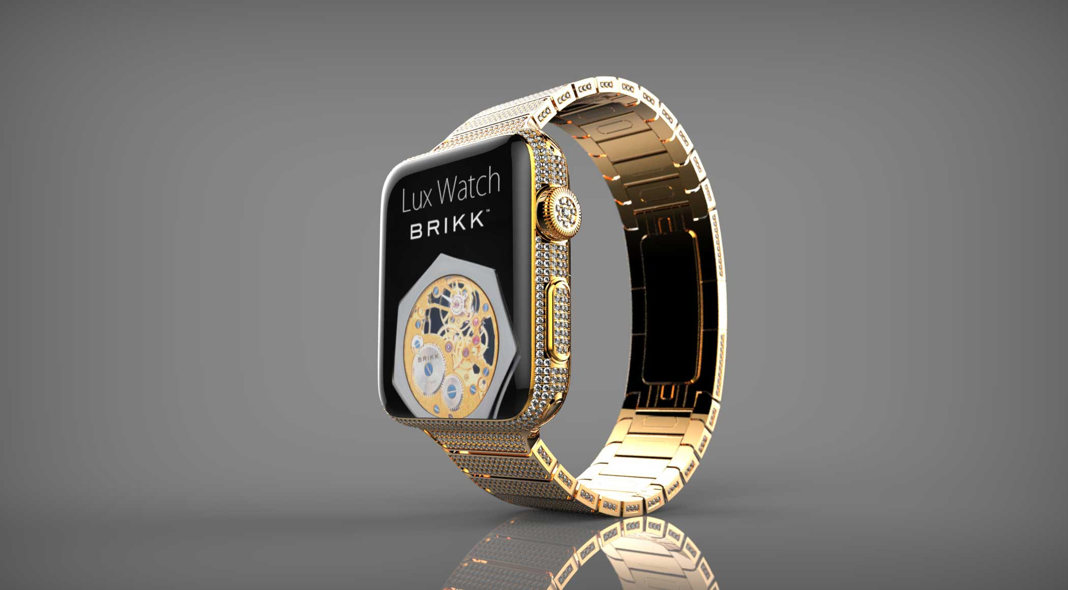 Lux Watch Omni Yellow Gold Brikk's modified Apple Watches will set you back over $100,000, but you'll get an Apple Watch covered in diamonds with yellow or pink gold plating. Brikk has already made a name for itself by selling 24-karat gold iPhone 6 models.