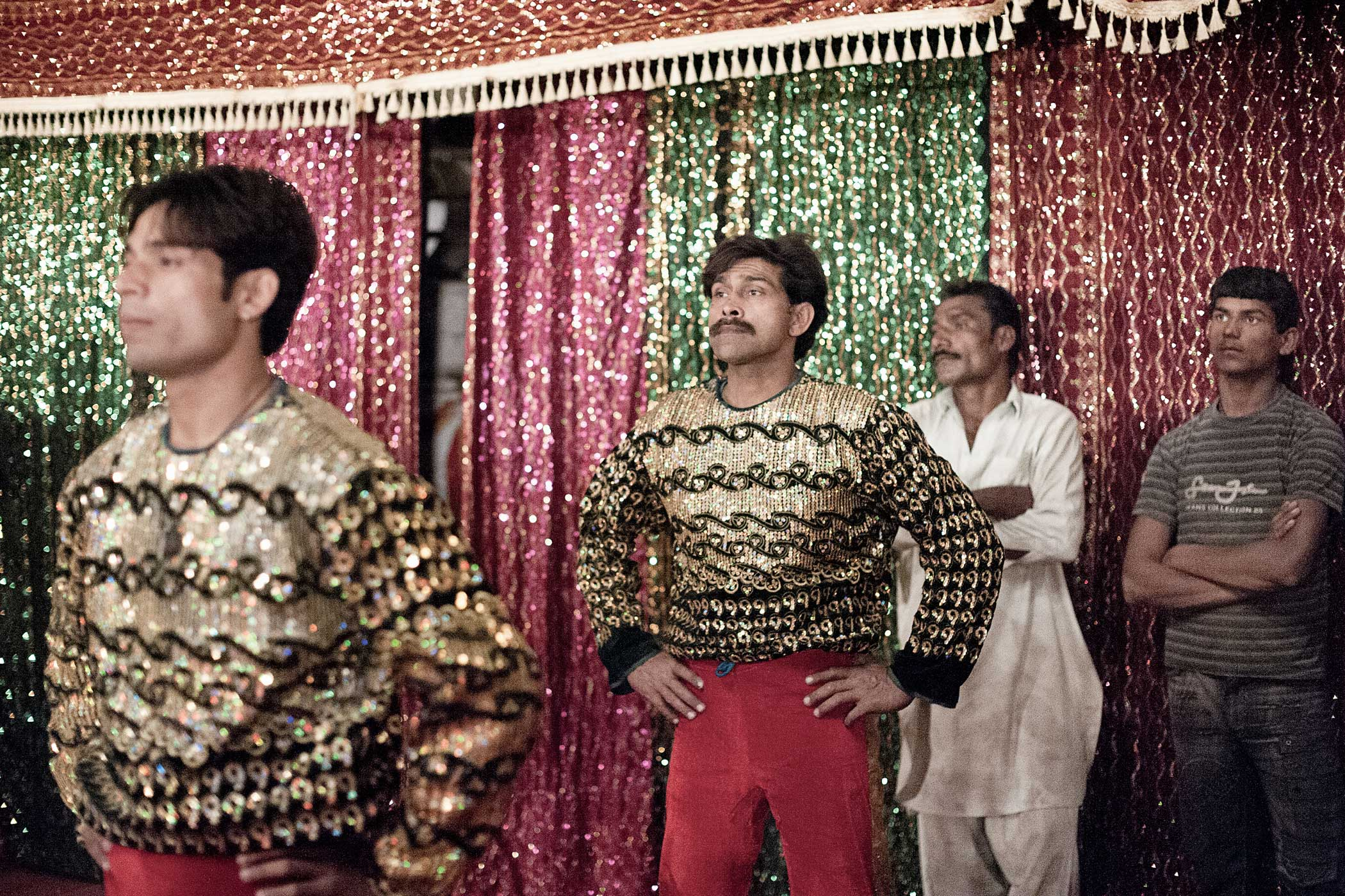 Lucky Irani Circus                               Acrobats wait to enter the ring.