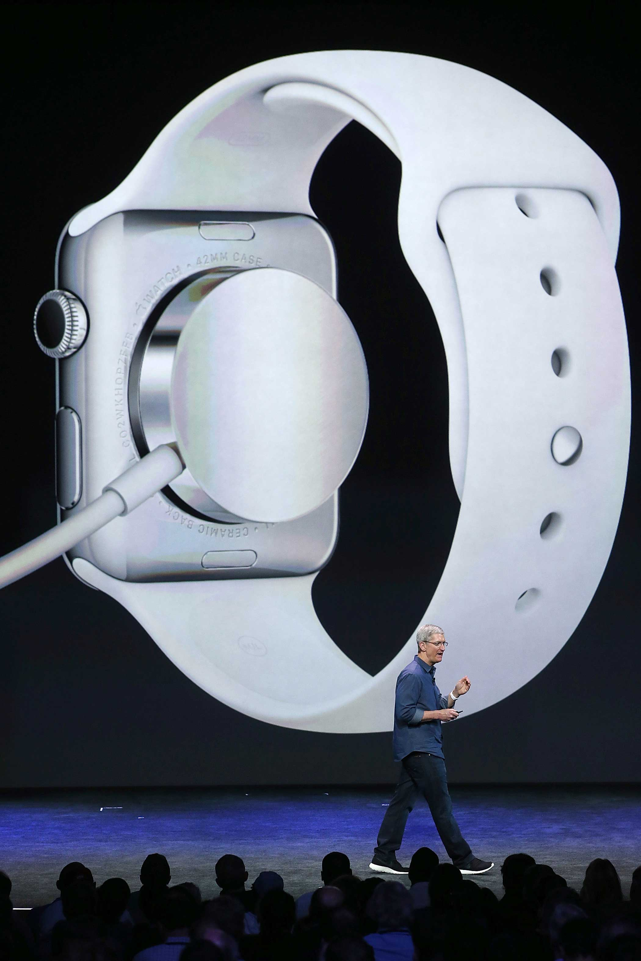 CEO Tim Cook has said the Watch will last about a day before it needs to be recharged. So far, battery life has been the biggest downside of most wearables. The Watch recharges through the magnetic system shown here.