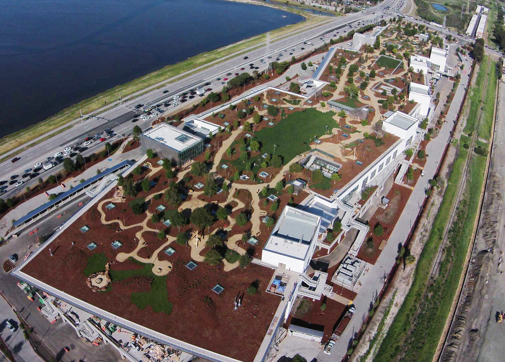 An aerial view of Facebook's new campus, an expansion of its current headquarters in Menlo Park, Calif. The LEED-certified building, known as MPK 20, has a 9-acre  green roof.