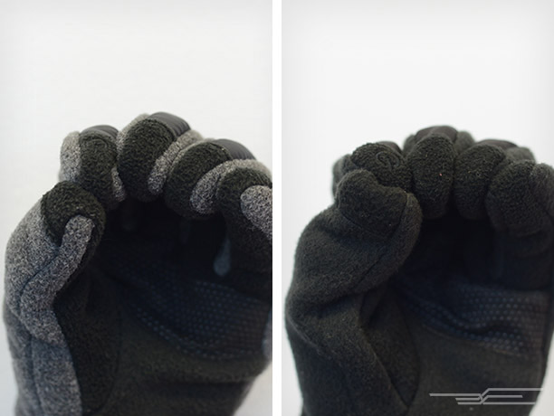 The ThermoBall's fingertips (left) fit tight and remain smooth for predictable touchscreen manipulation, while the Denali's (right) are loose-fitting and get wrinkly when you move your fingers—especially the thumb. Both are size medium.