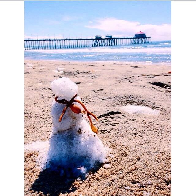 Nathaniel Brimlow posted this photo of a lone snowman at Huntington Beach Pier.
