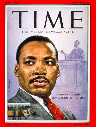 King's first appearance on the cover of TIME, on Feb. 18, 1957